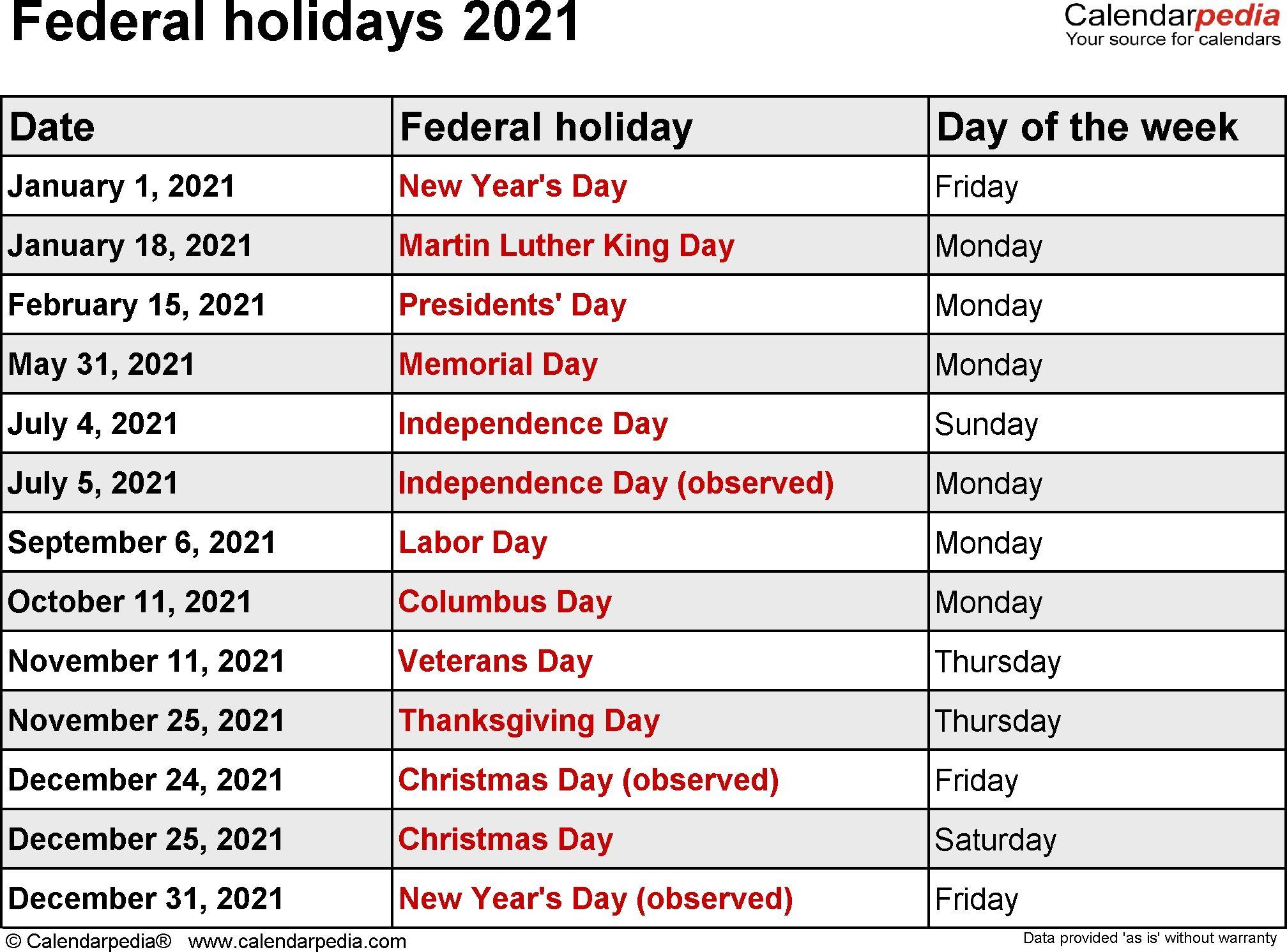 Federal Holidays 2021 Dowload | Holiday Calendar Printable regarding Printable National Day Calendar 2021