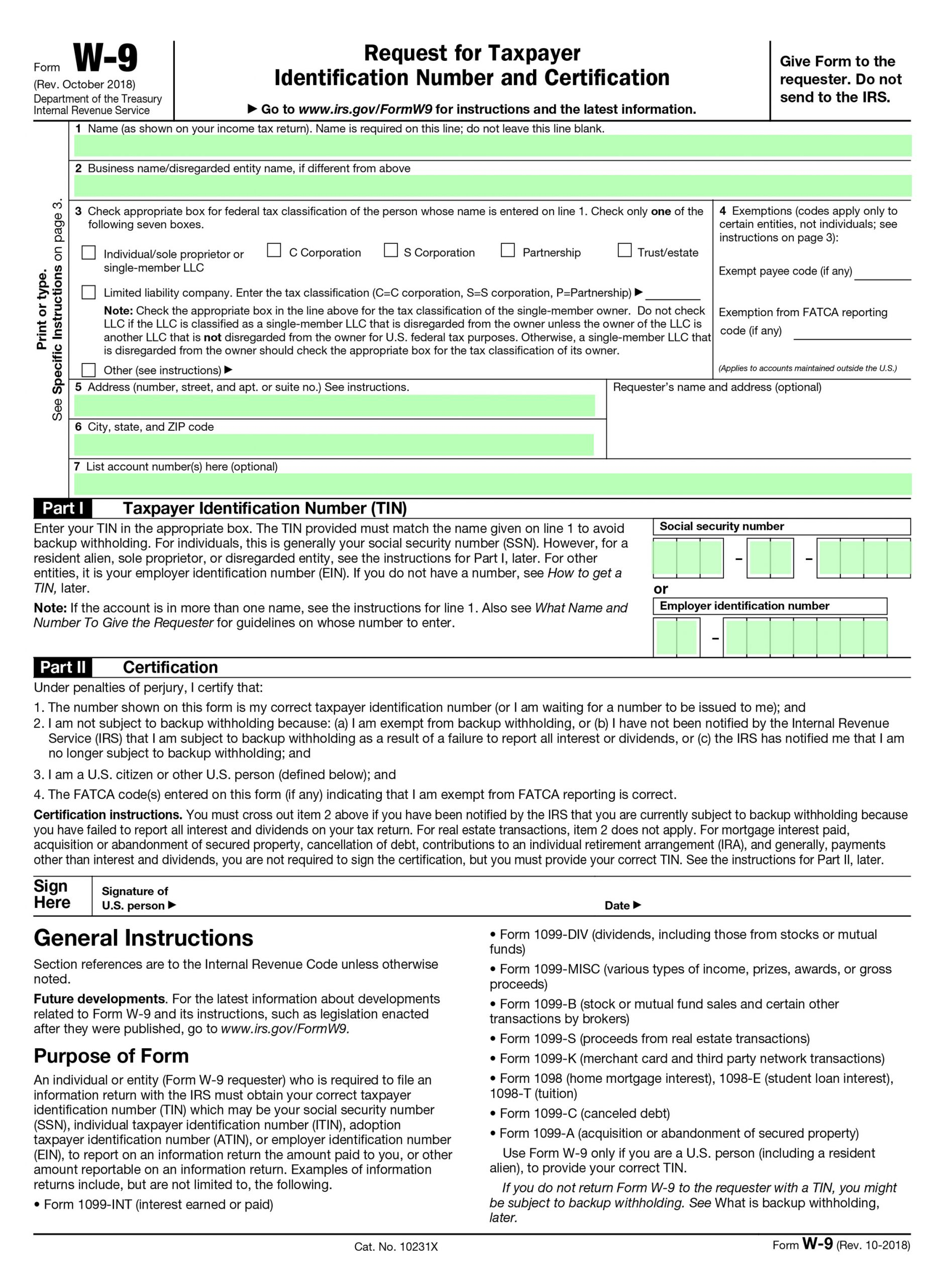 Filling Irs Form W-9 - Editable, Printable Blank | Fill Out inside Free W 9 Form