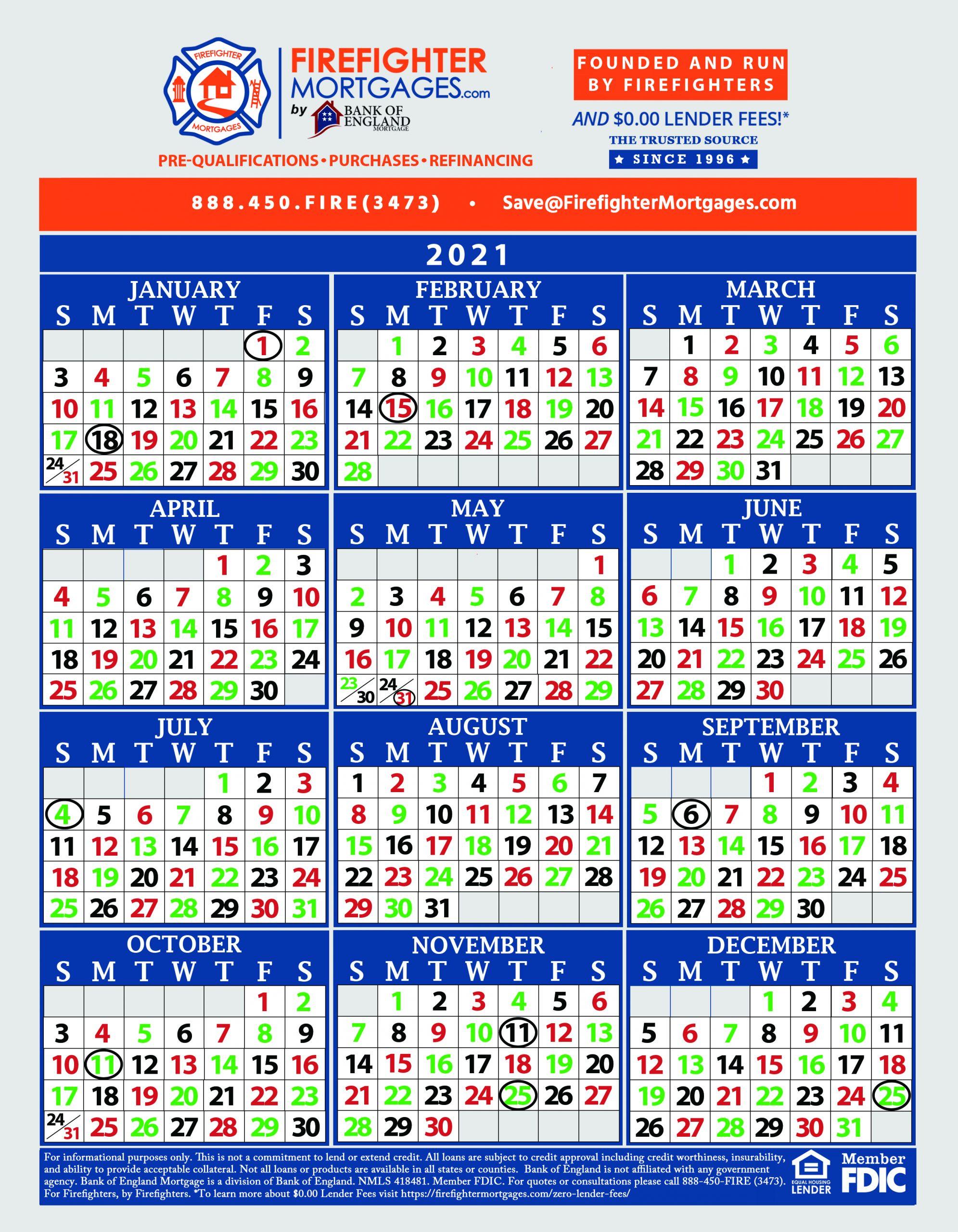 Firefighter Shift Calendars - Firefighter Mortgages® pertaining to Firehouse Shift Calendar