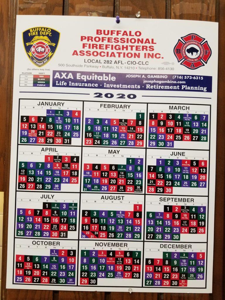Firefighter Shift Schedule 2020 – Buffalo Firefighters intended for Fire Shift Calendar