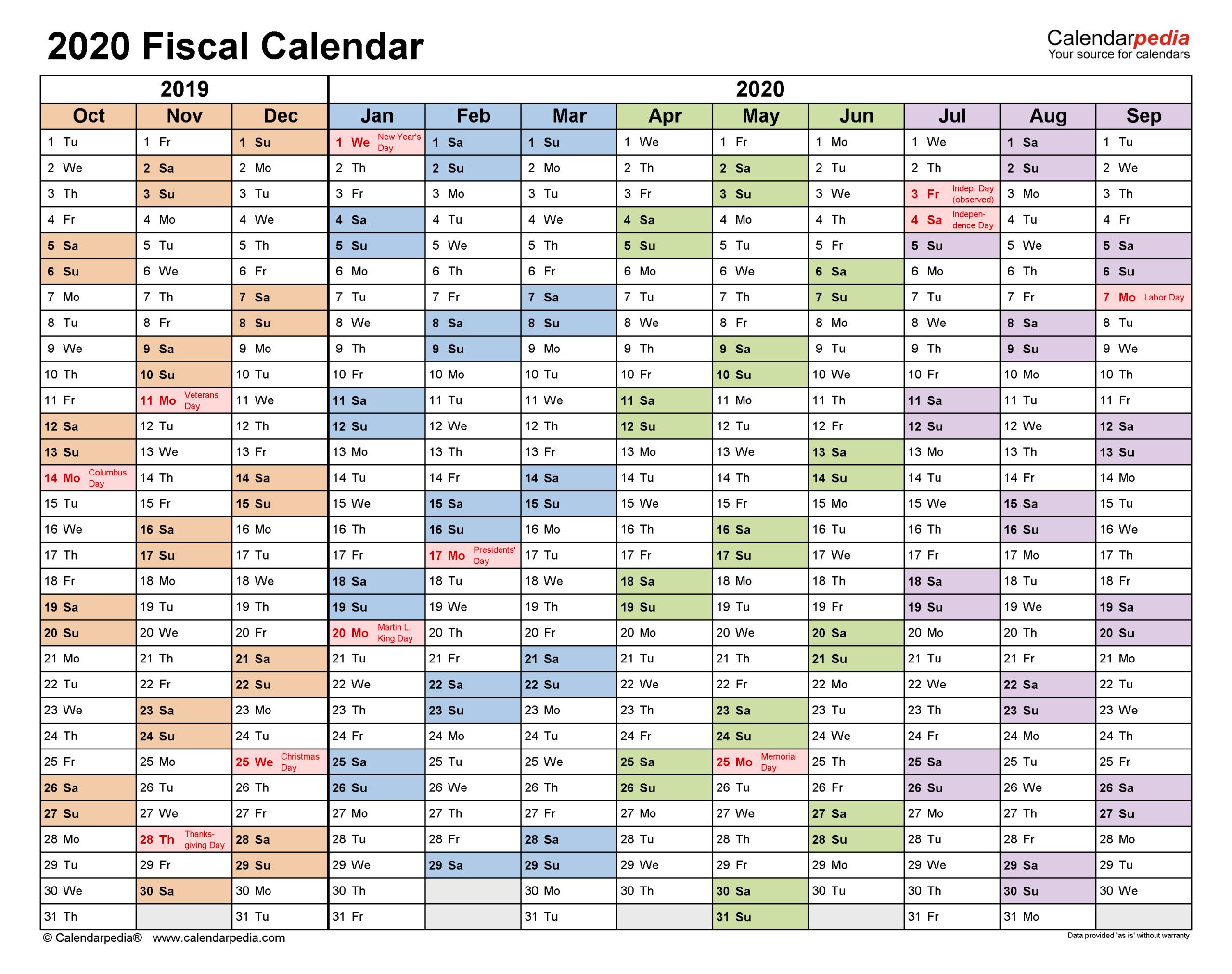 Fiscal Calendars 2020 - Free Printable Pdf Templates for Calendario Fiscal 4-4-5