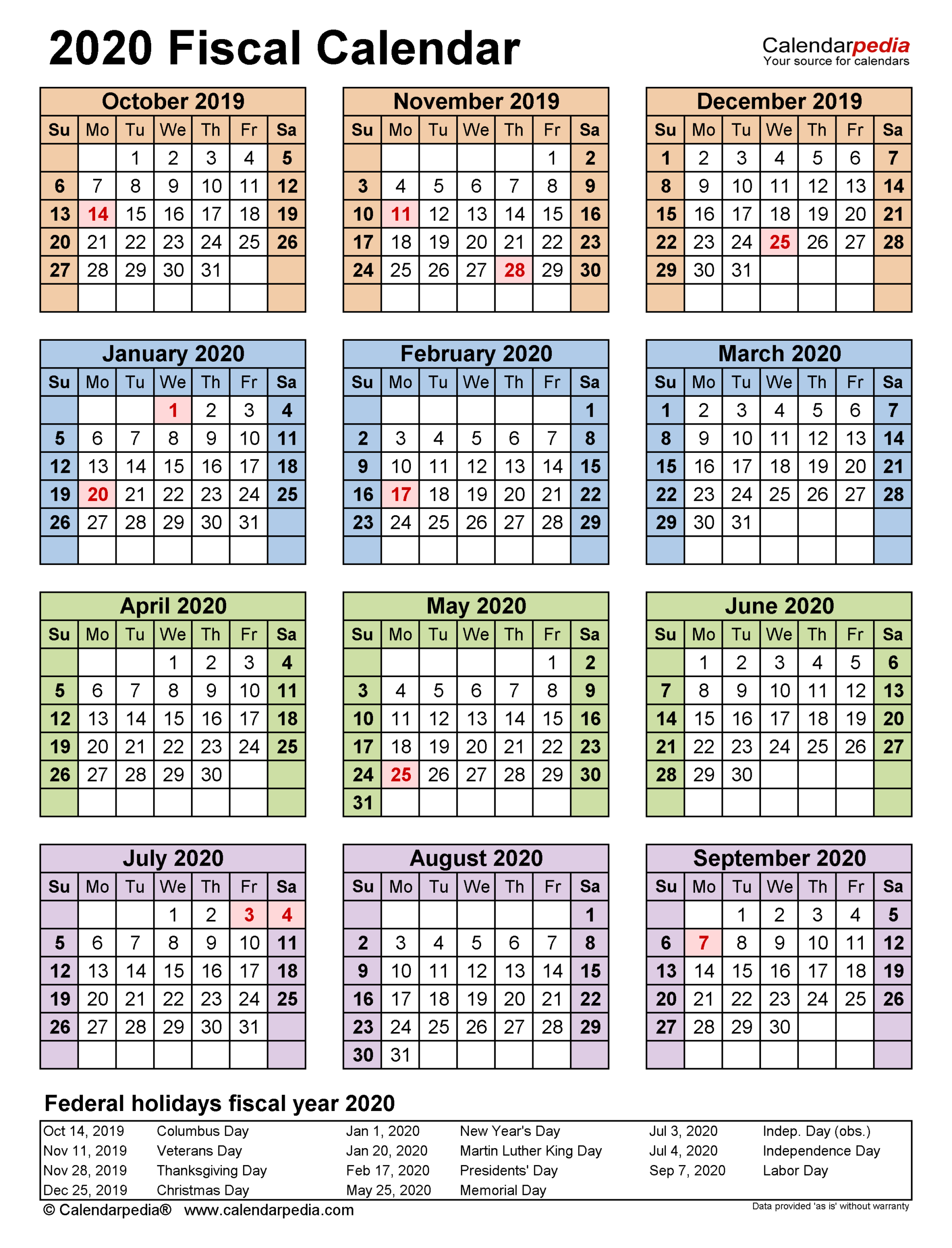 Fiscal Calendars 2020 - Free Printable Pdf Templates intended for Calendario Fiscal 4-4-5