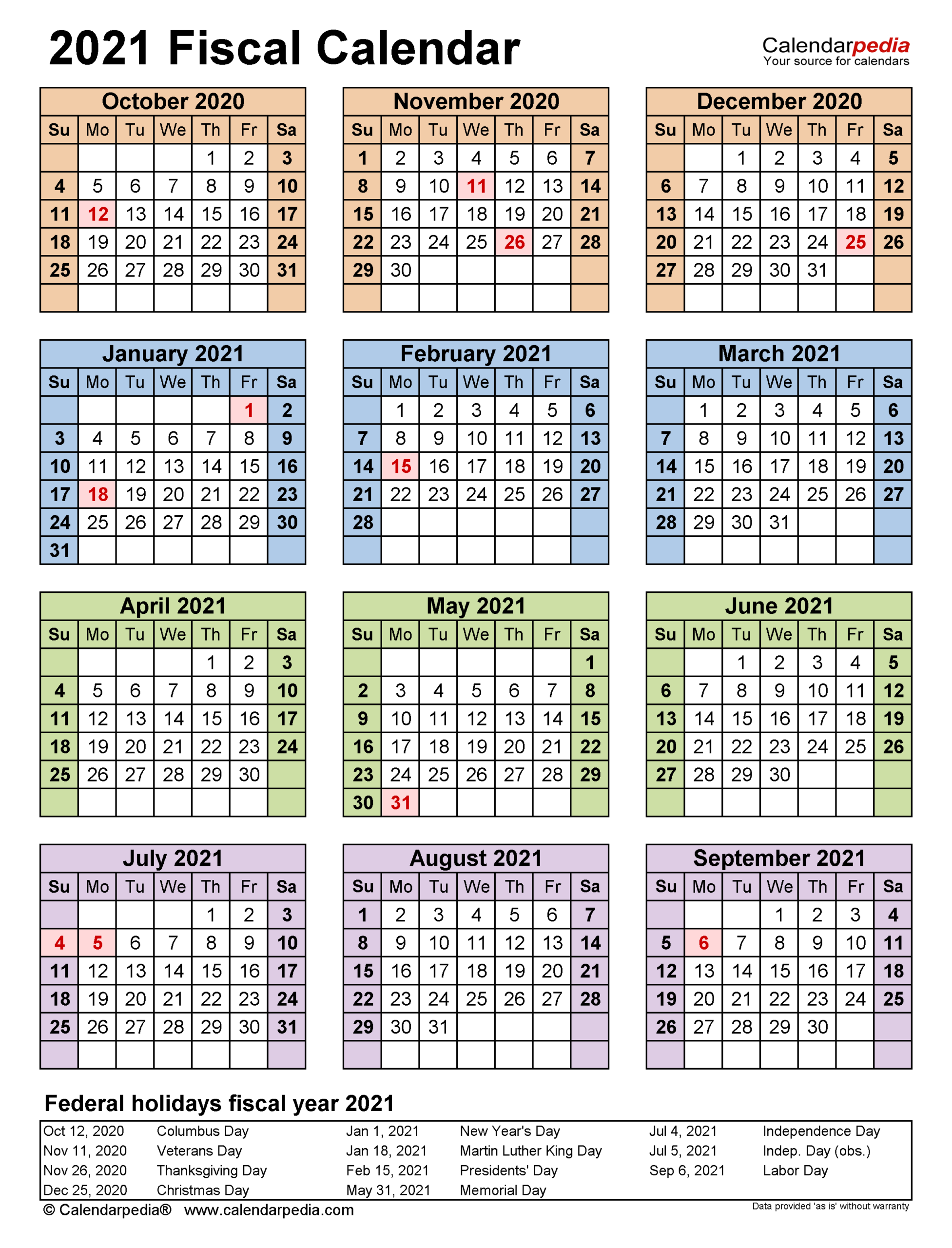 Fiscal Calendars 2021 - Free Printable Pdf Templates in Federal Government Calendar 2021 Printable