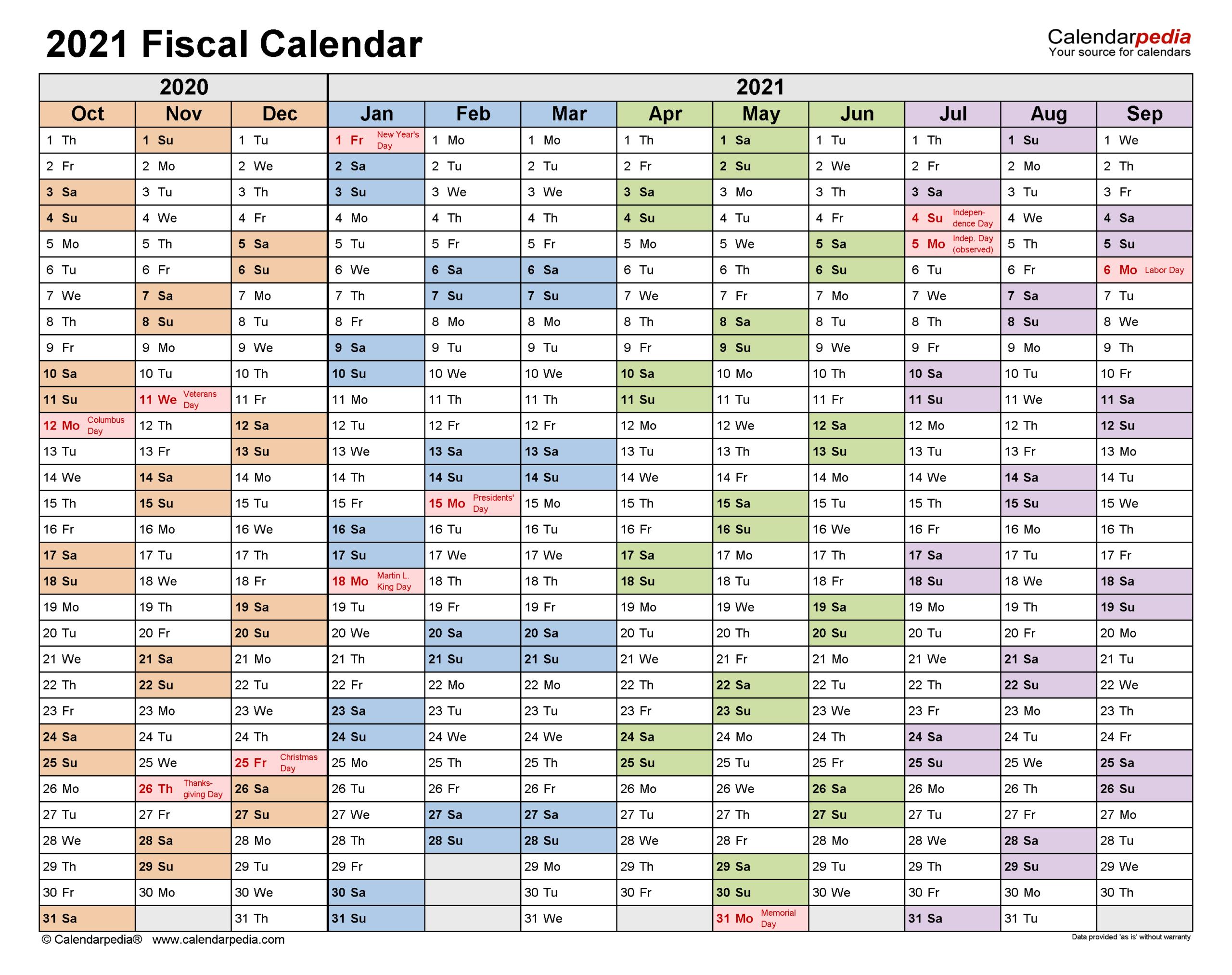 Fiscal Calendars 2021 - Free Printable Pdf Templates throughout Calendario Fiscal 4-4-5