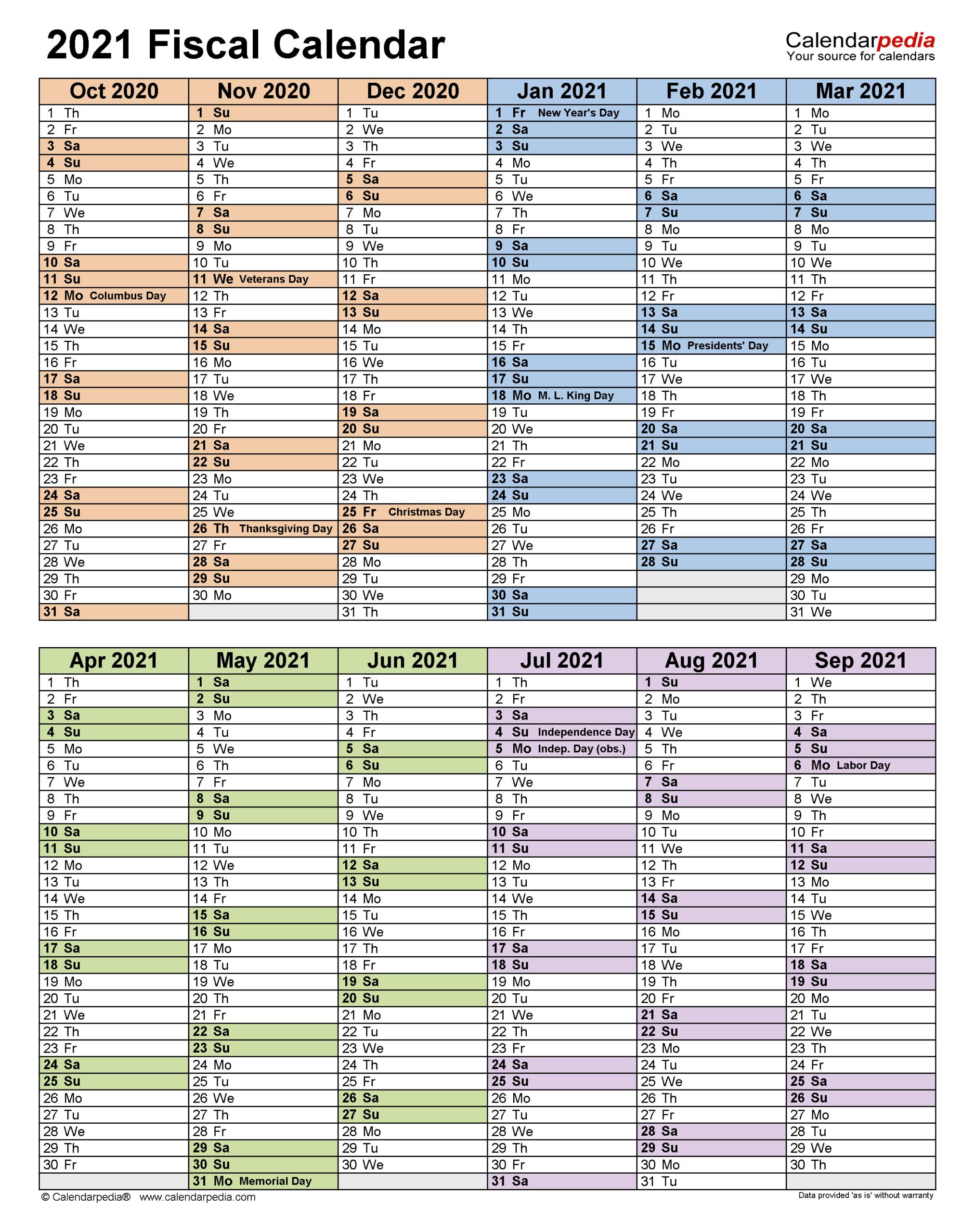 Fiscal Calendars 2021 - Free Printable Pdf Templates with Calendario Fiscal 4-4-5