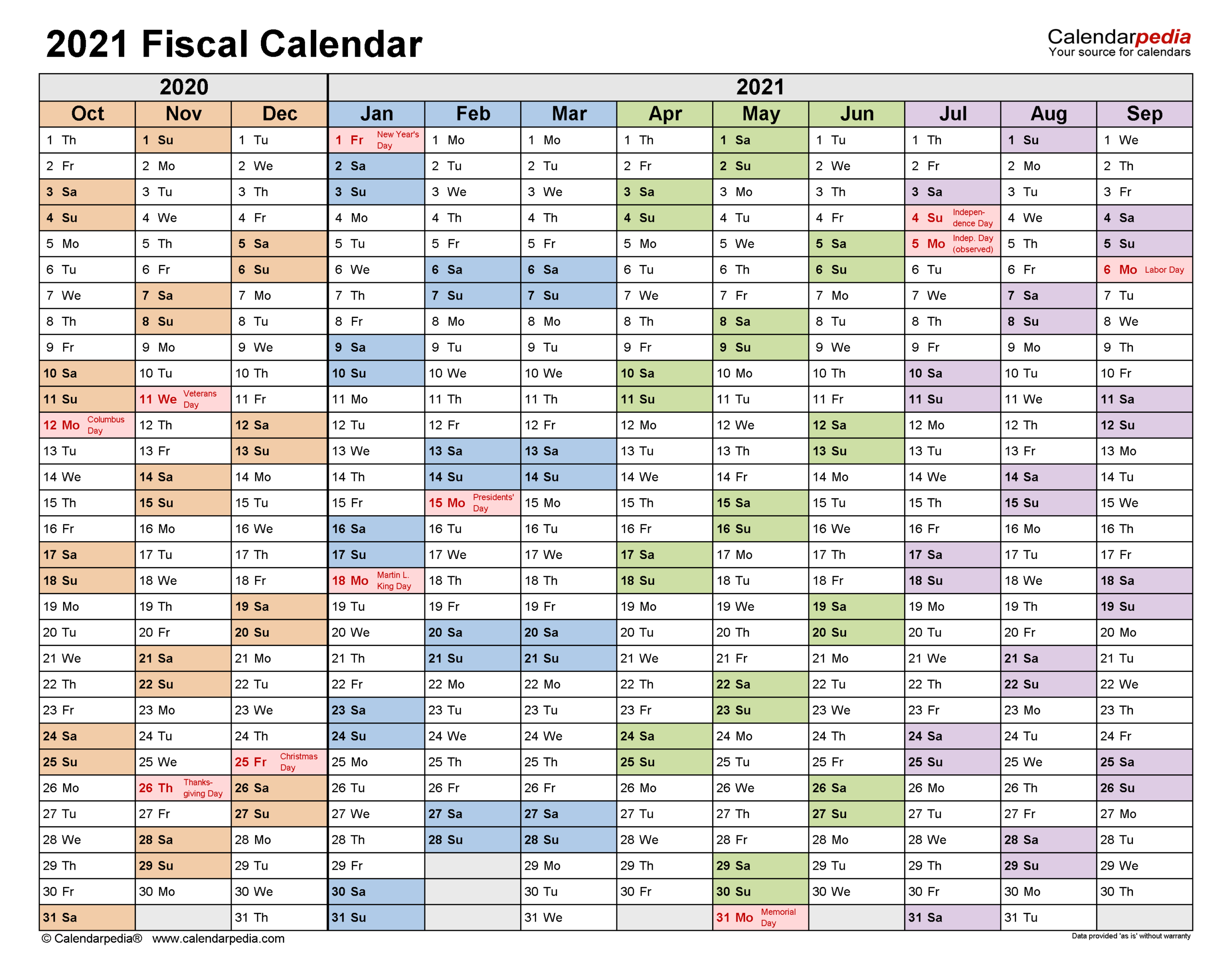 Fiscal Calendars 2021 - Free Printable Pdf Templates with Federal Government Calendar 2021 Printable
