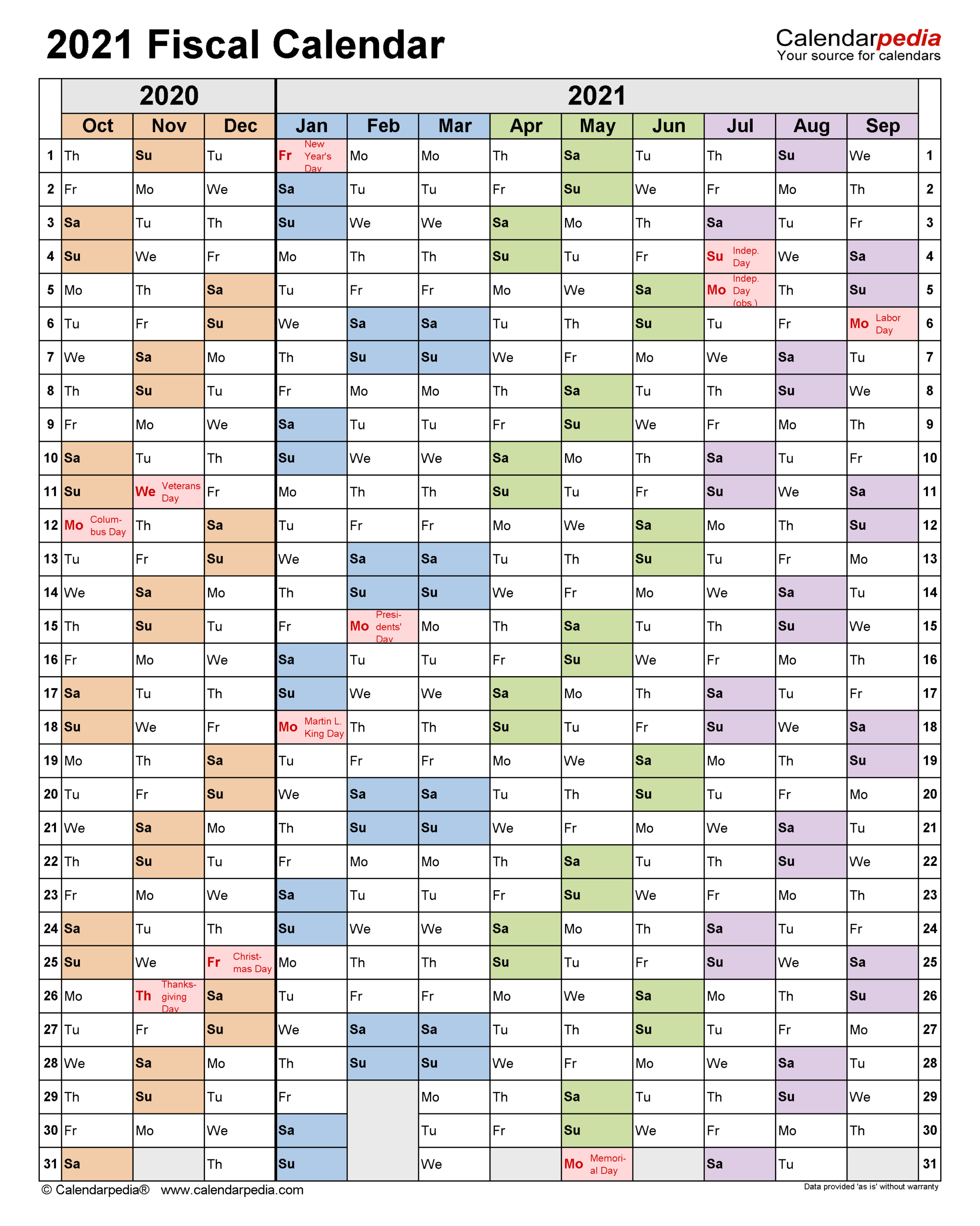 Fiscal Calendars 2021 - Free Printable Pdf Templates within Calendario Fiscal 4-4-5