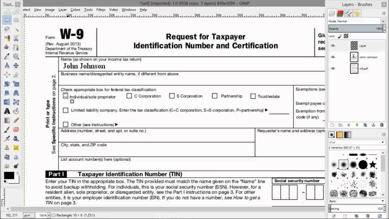 Form W 9 Fillable How To Electronically Fill Out A Pdf W9 within Irs Form W 9 Fillable Pdf