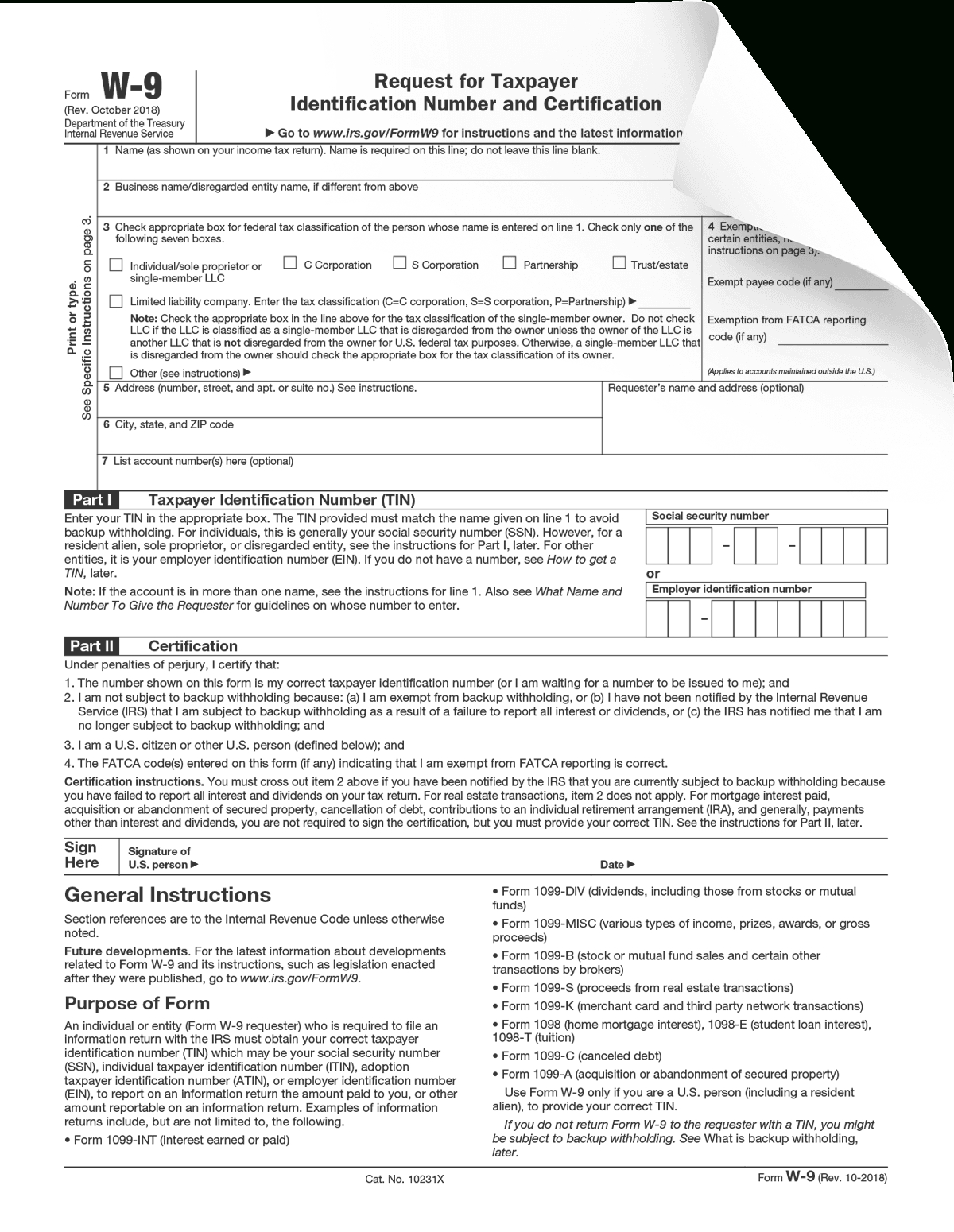 Form W-9 - Form Pros within Blank W 9 Form To Print