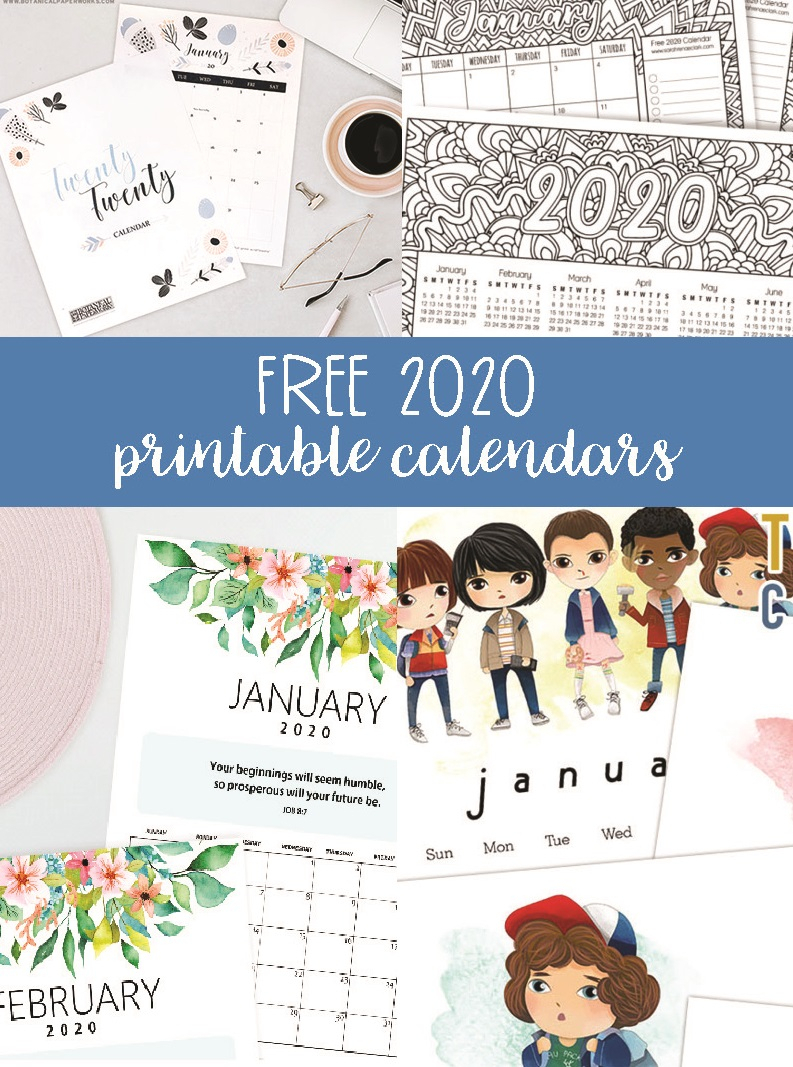 Free 2020 Printable Calendars - Crafting In The Rain with Girly Calewnder Of The Year