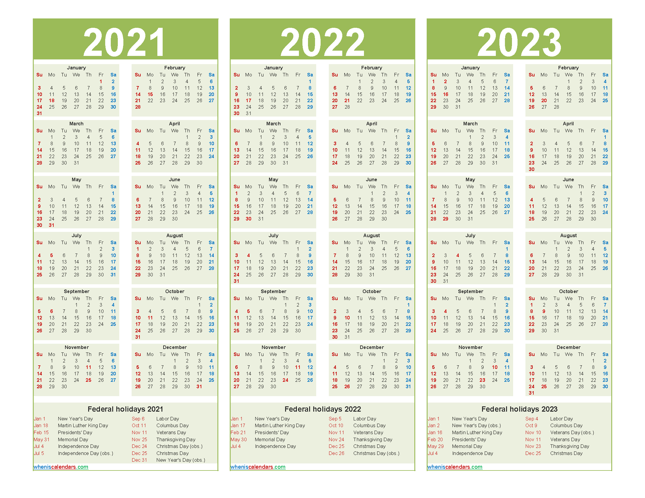 Free 2021 And 2022 And 2023 Calendar With Holidays pertaining to Three Year Printable Calendar 2021 To 2023