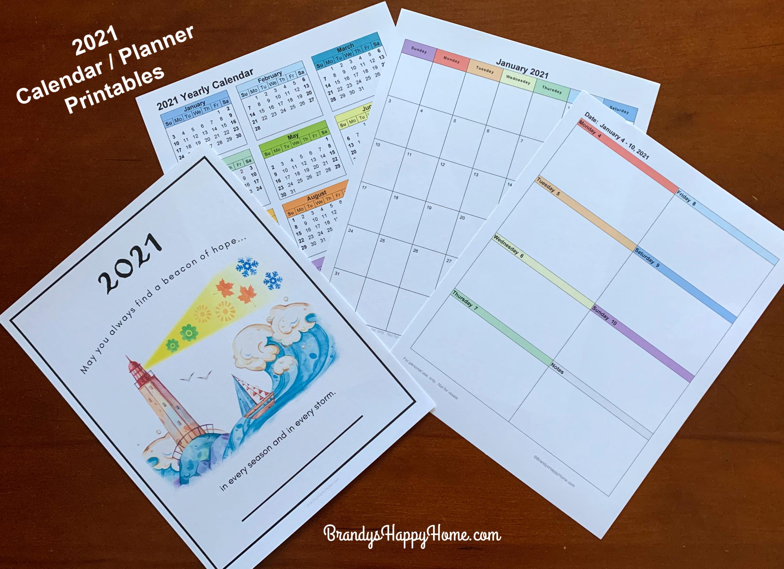 Free 2021 Calendar Planner Printables throughout 2021-2021 2 Year Pocket Planner: 2 Year