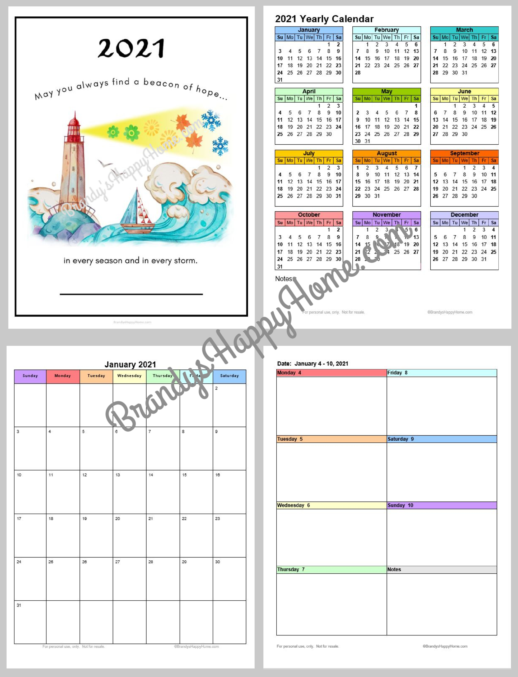 Free 2021 Calendar Planner Printables throughout 2021 Planner: Weekly Calendar Planner