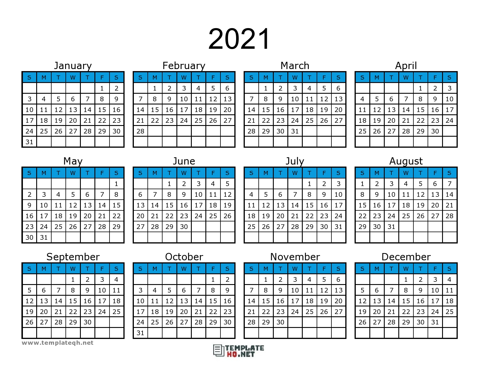Free 2021 Calendar Printable - Template Hq within Calendar Fill In 2021