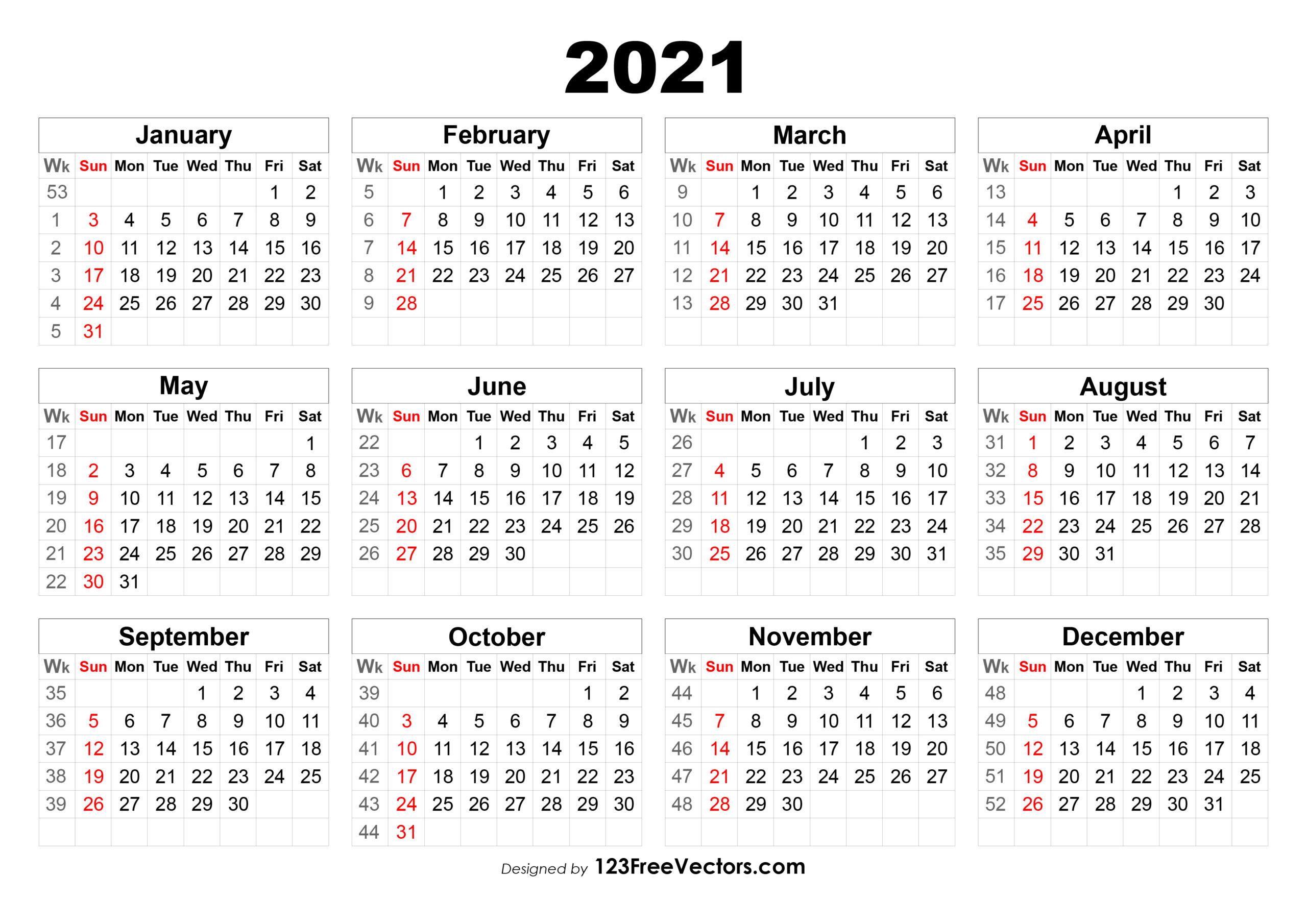 Free 2021 Calendar With Week Numbers in Weekly Planner For 2021- 52 Weeks