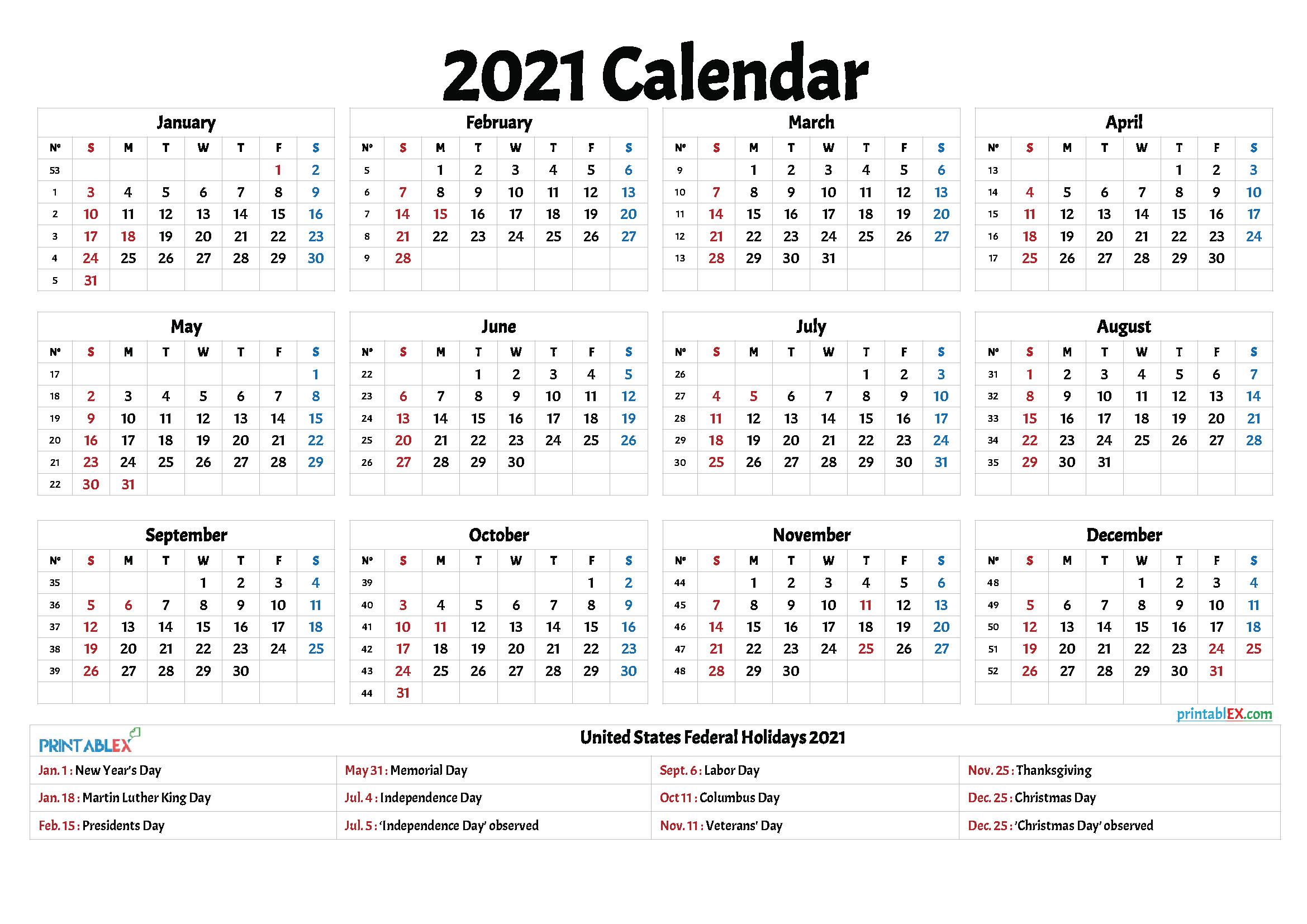 Free 2021 Printable Calendar With Holidays inside Federal Government Calendar Printable
