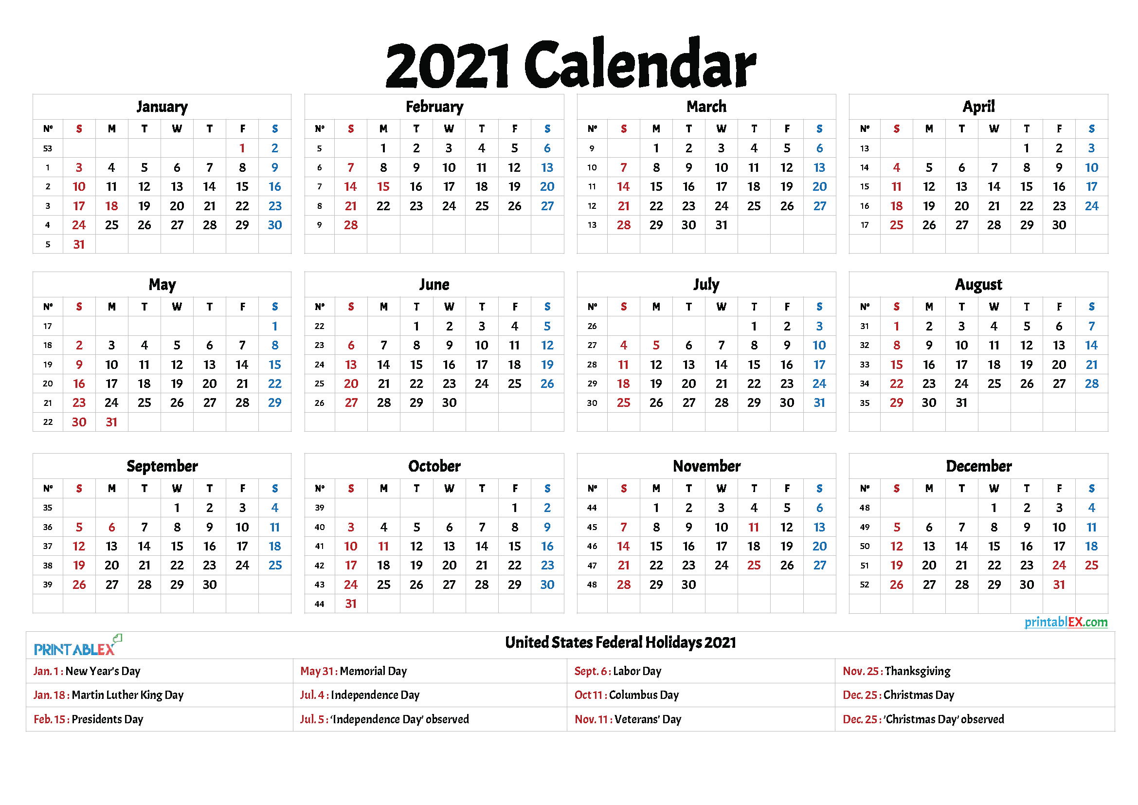 Free 2021 Printable Calendar With Holidays throughout Federal Government Calendar 2021 Printable