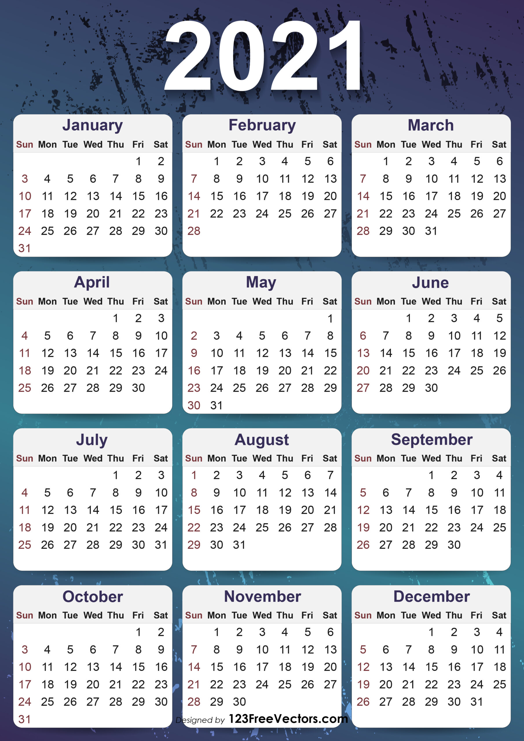 Free 2021 Yearly Calendar Template within 2021 Yearly Calendar With Boxes