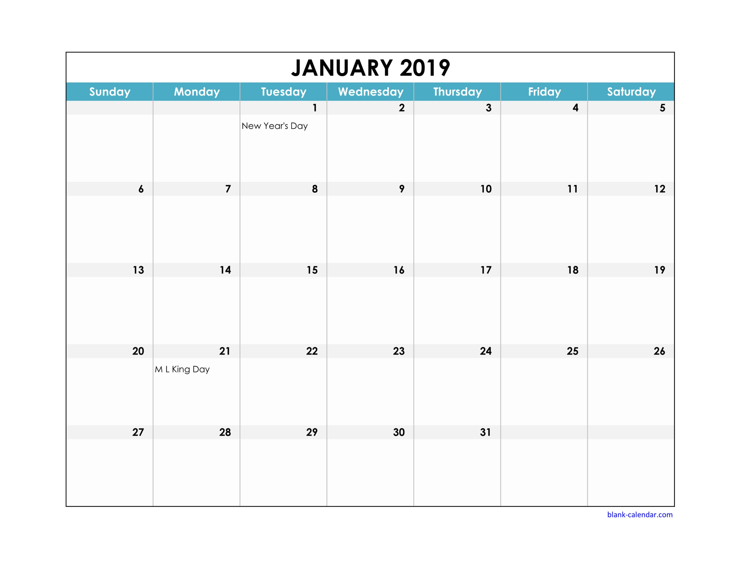 Free Download 2019 Excel Calendar Large Boxes In The Grid pertaining to Calendars With Large Squares