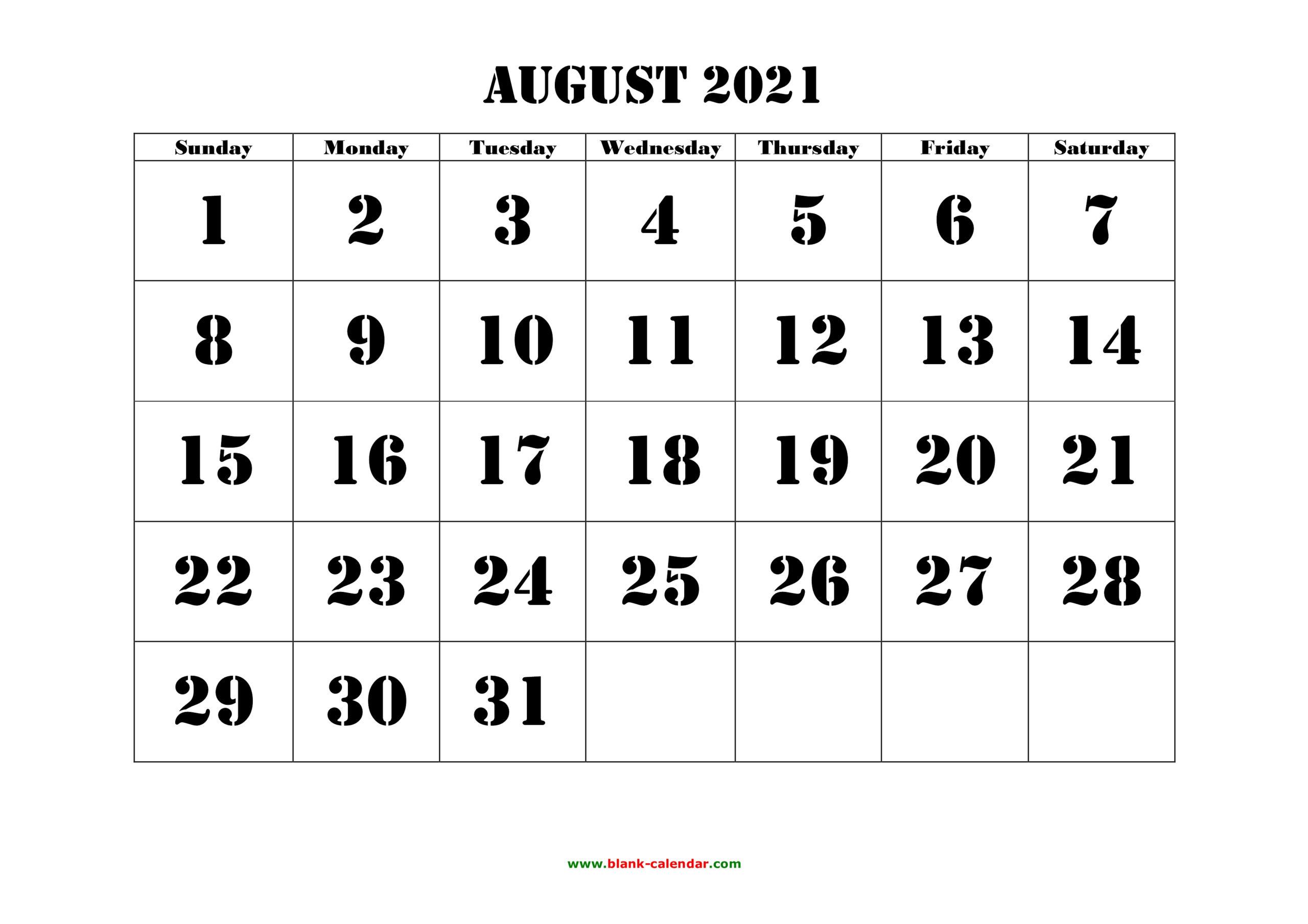 Free Download Printable August 2021 Calendar, Large Font with 2021 Large Bold Printable Calendar