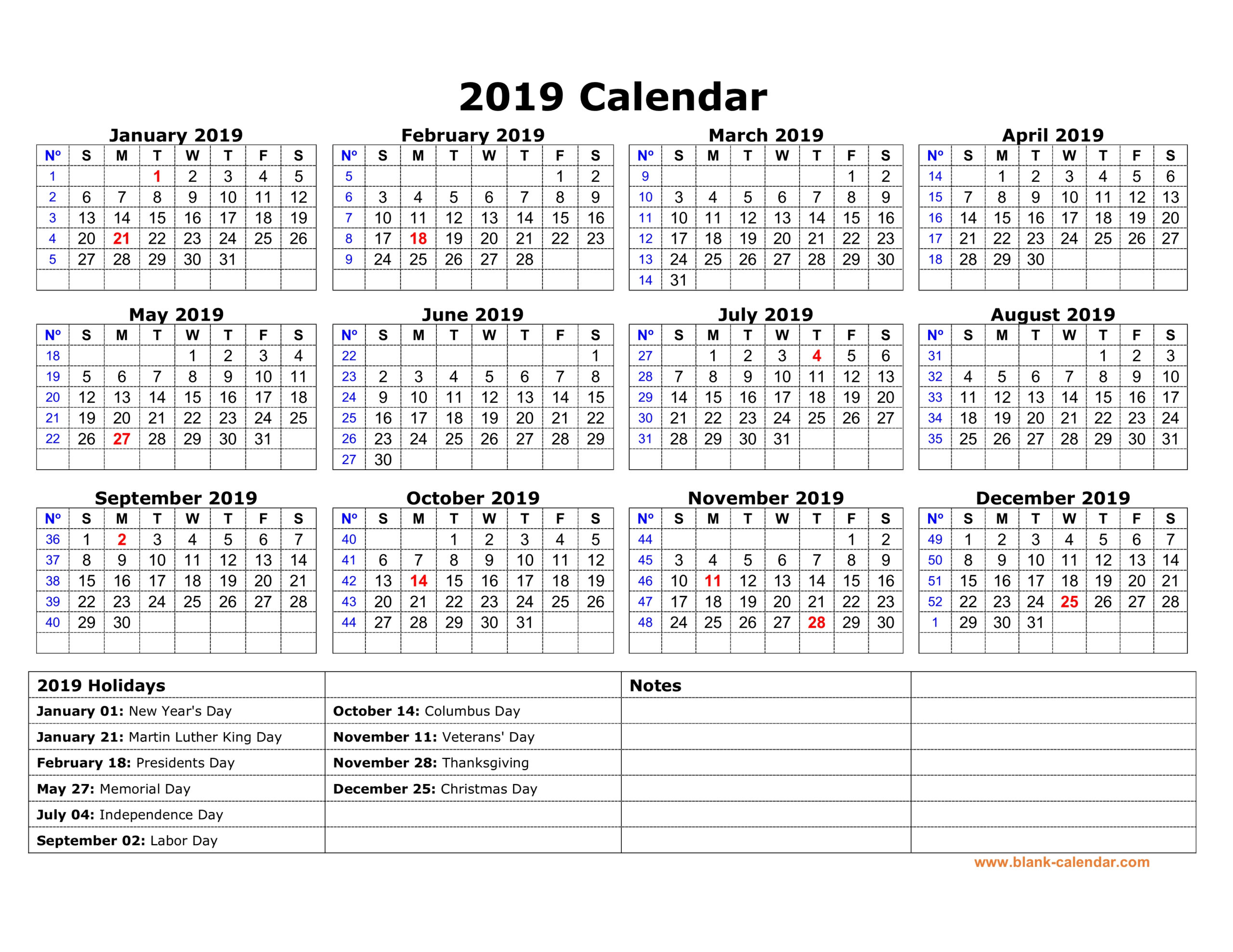 Free Download Printable Calendar 2019 With Us Federal for Federal Government Calendar Printable