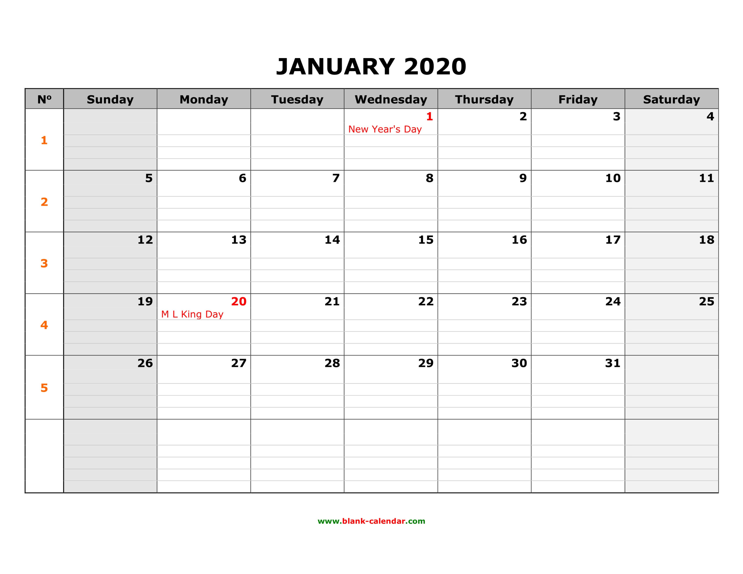Free Download Printable Calendar 2020, Large Box Grid, Space for Calendars With Large Squares