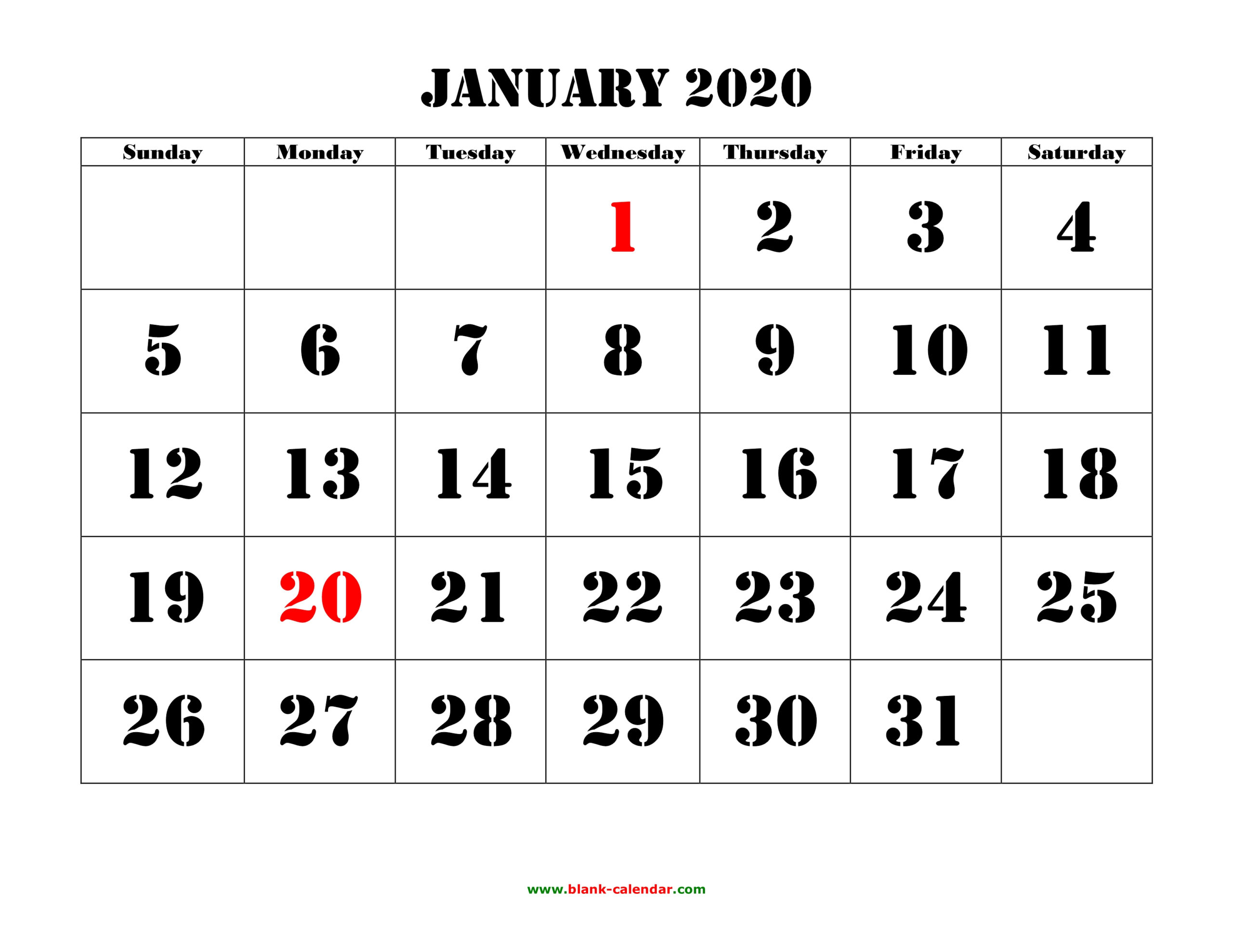 Free Download Printable Calendar 2020, Large Font Design throughout Large Bold Printable Calendar