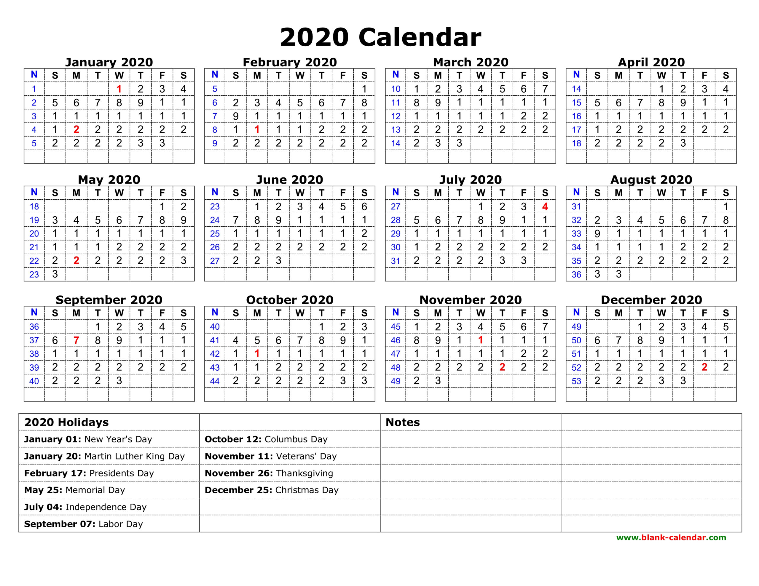 Free Download Printable Calendar 2020 With Us Federal intended for Federal Government Calendar Printable