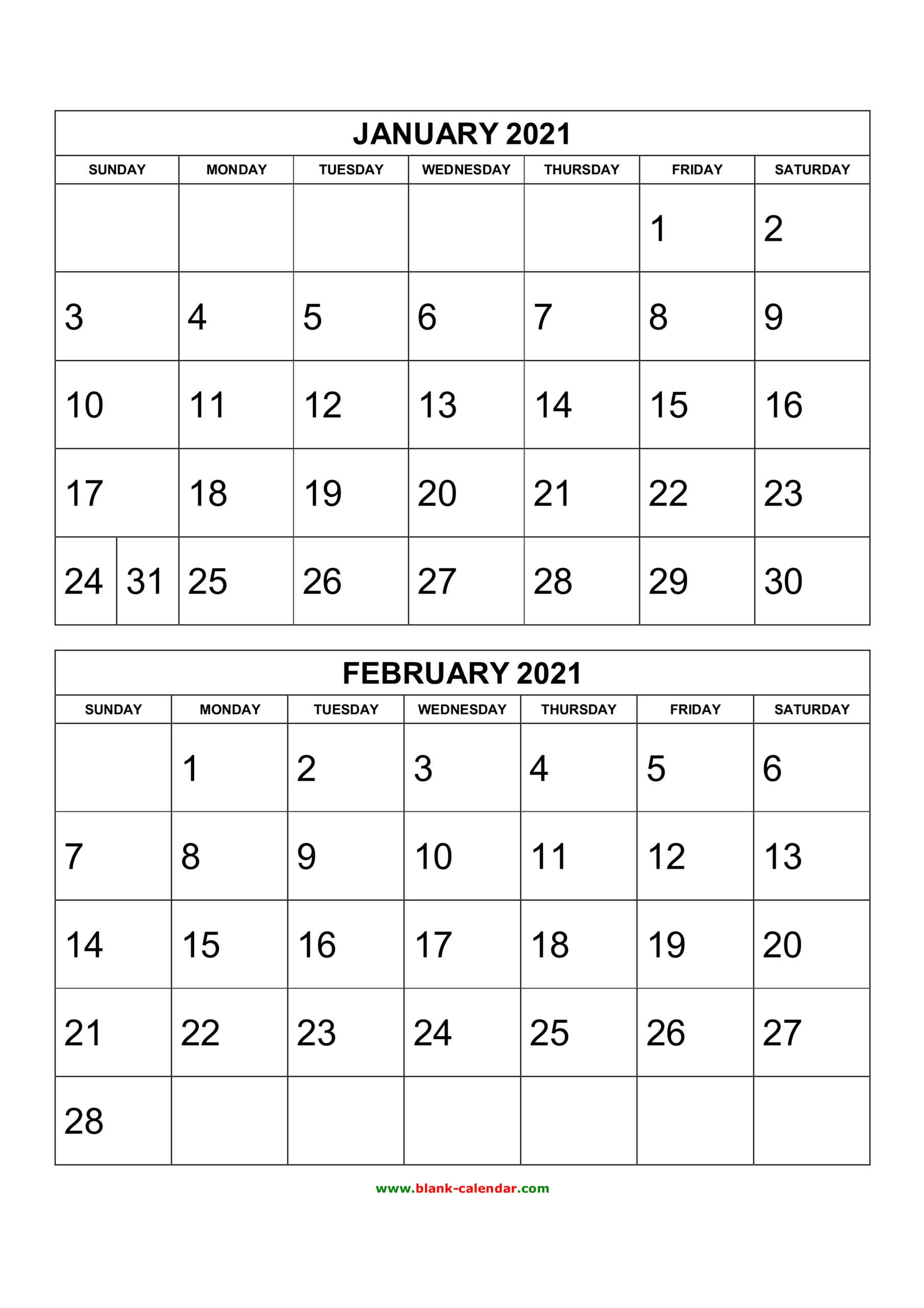 Free Download Printable Calendar 2021, 2 Months Per Page, 6 in Printfree Calendar 2021 With Date Boxes