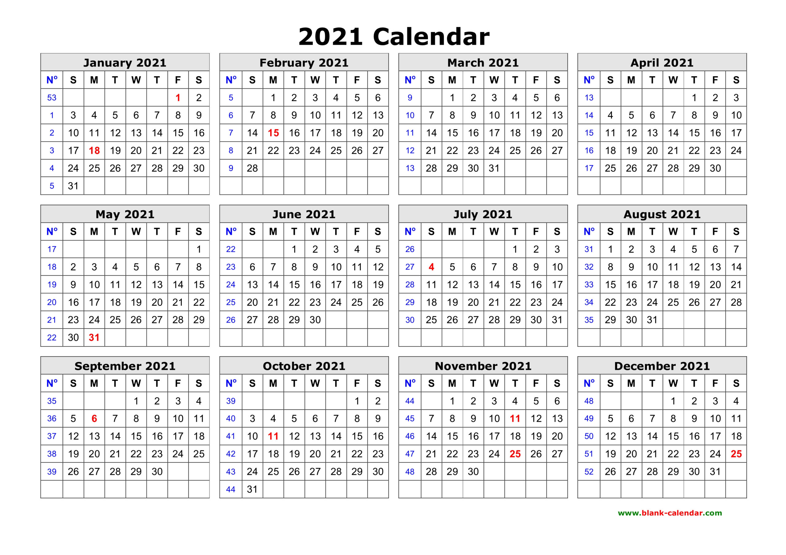 Free Download Printable Calendar 2021 In One Page, Clean Design. inside 2021 Yearly Calendar With Boxes