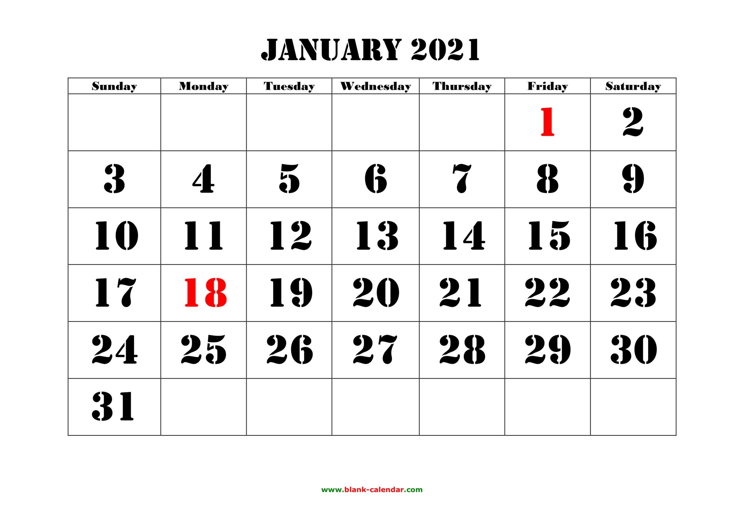 Free Download Printable Calendar 2021, Large Font Design for 2021 Large Print Calendar Monthly