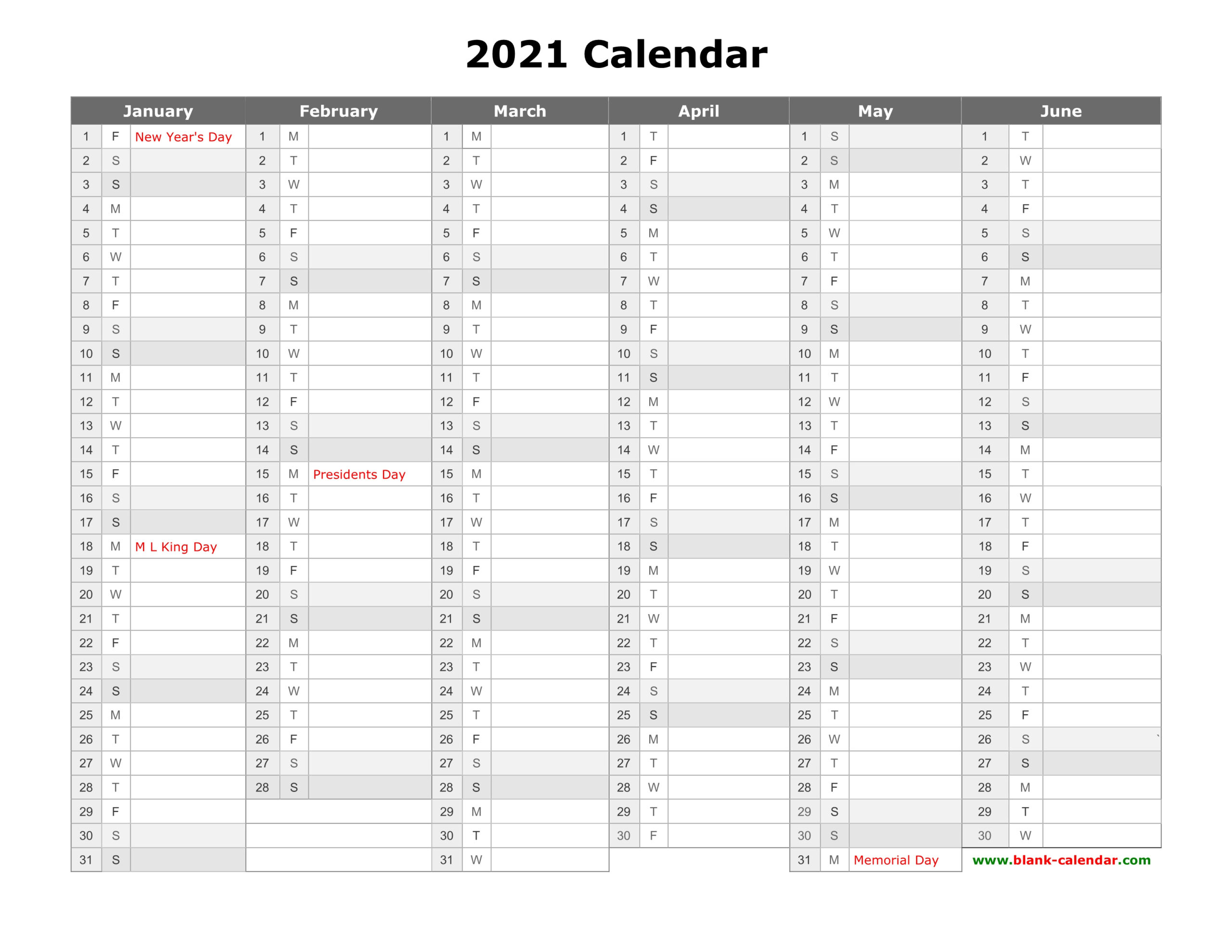 Free Download Printable Calendar 2021, Month In A Column in 2021 Yearly Calendar With Boxes