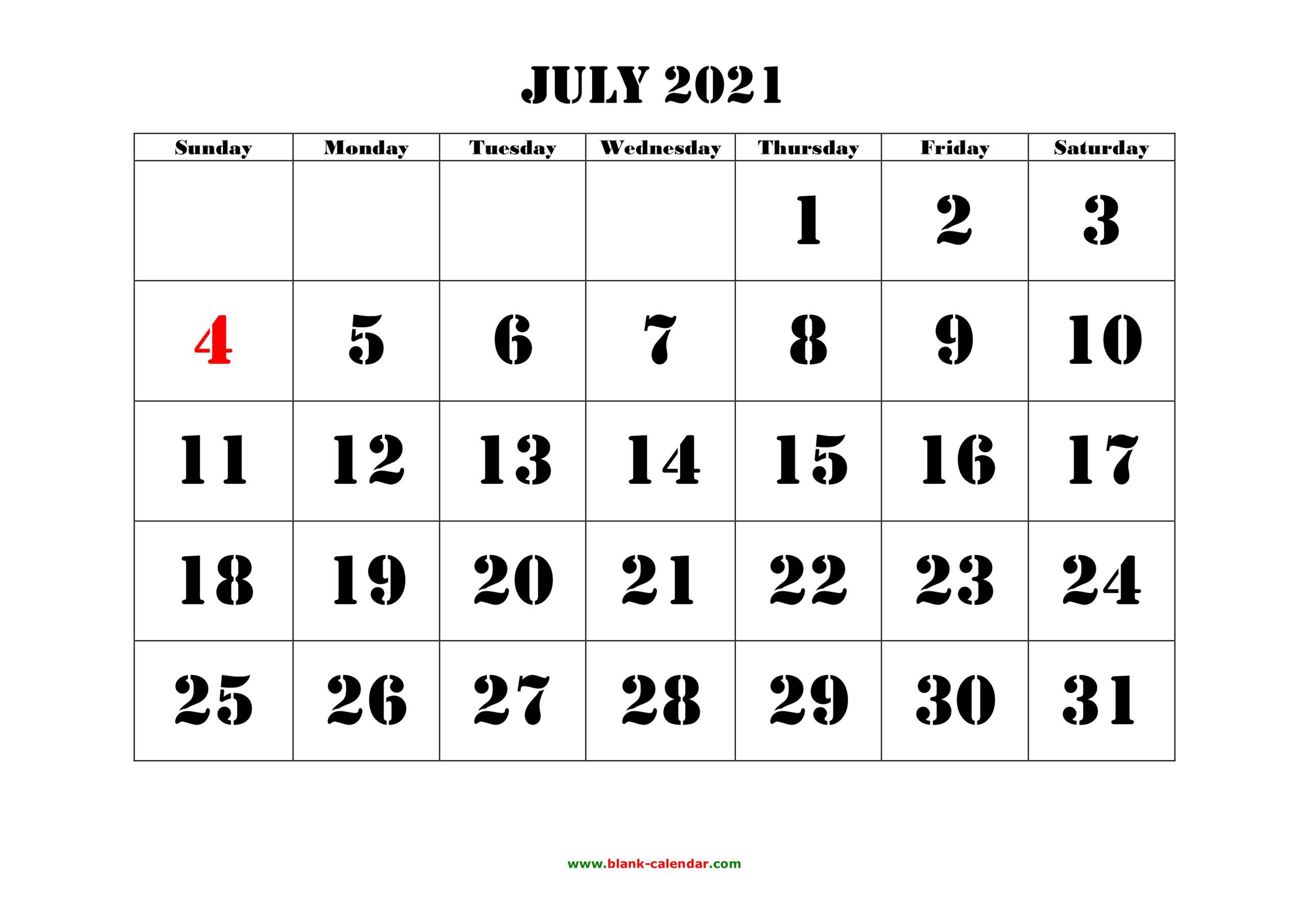 Free Download Printable July 2021 Calendar, Large Font throughout 2021 Large Bold Printable Calendar