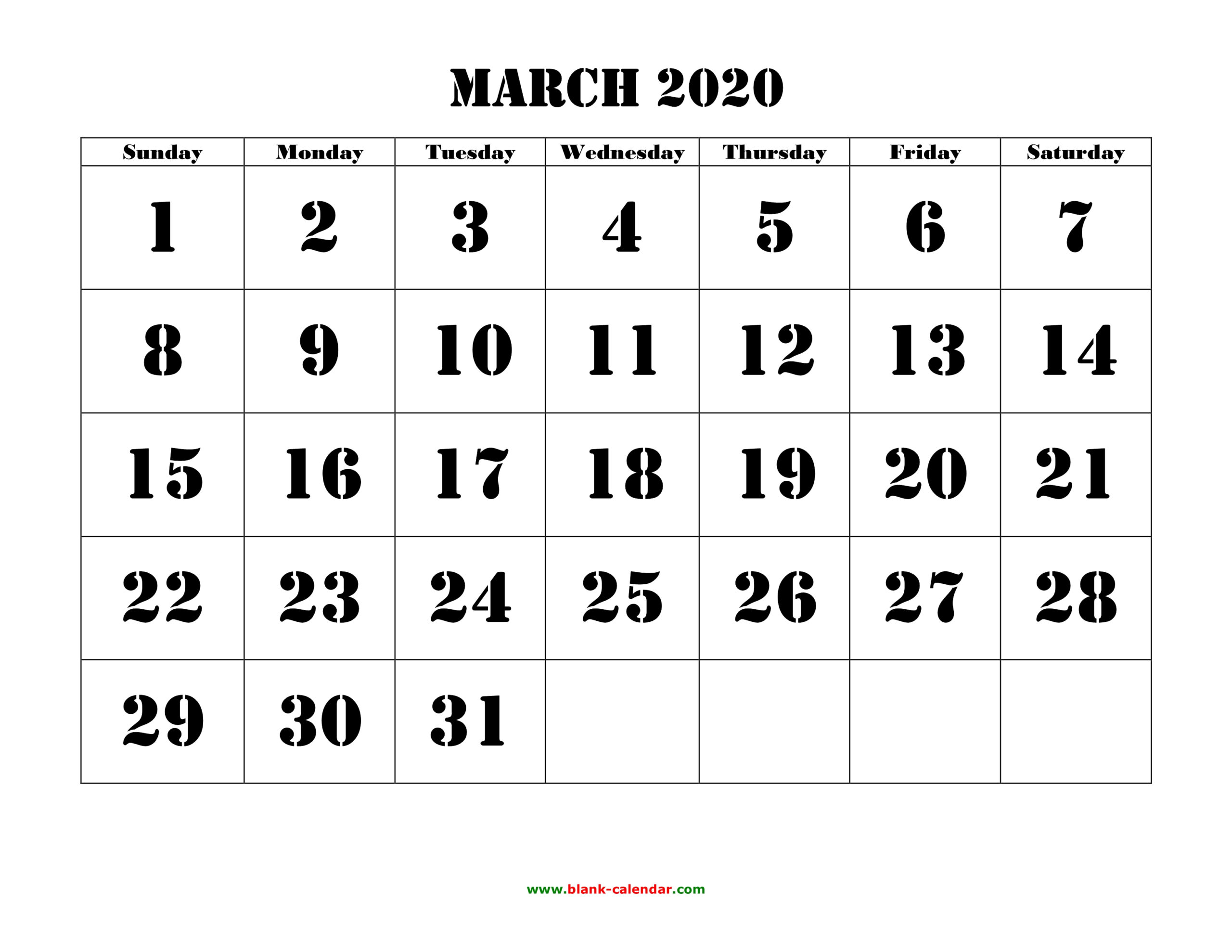 Free Download Printable March 2020 Calendar, Large Font in Large Bold Printable Calendar