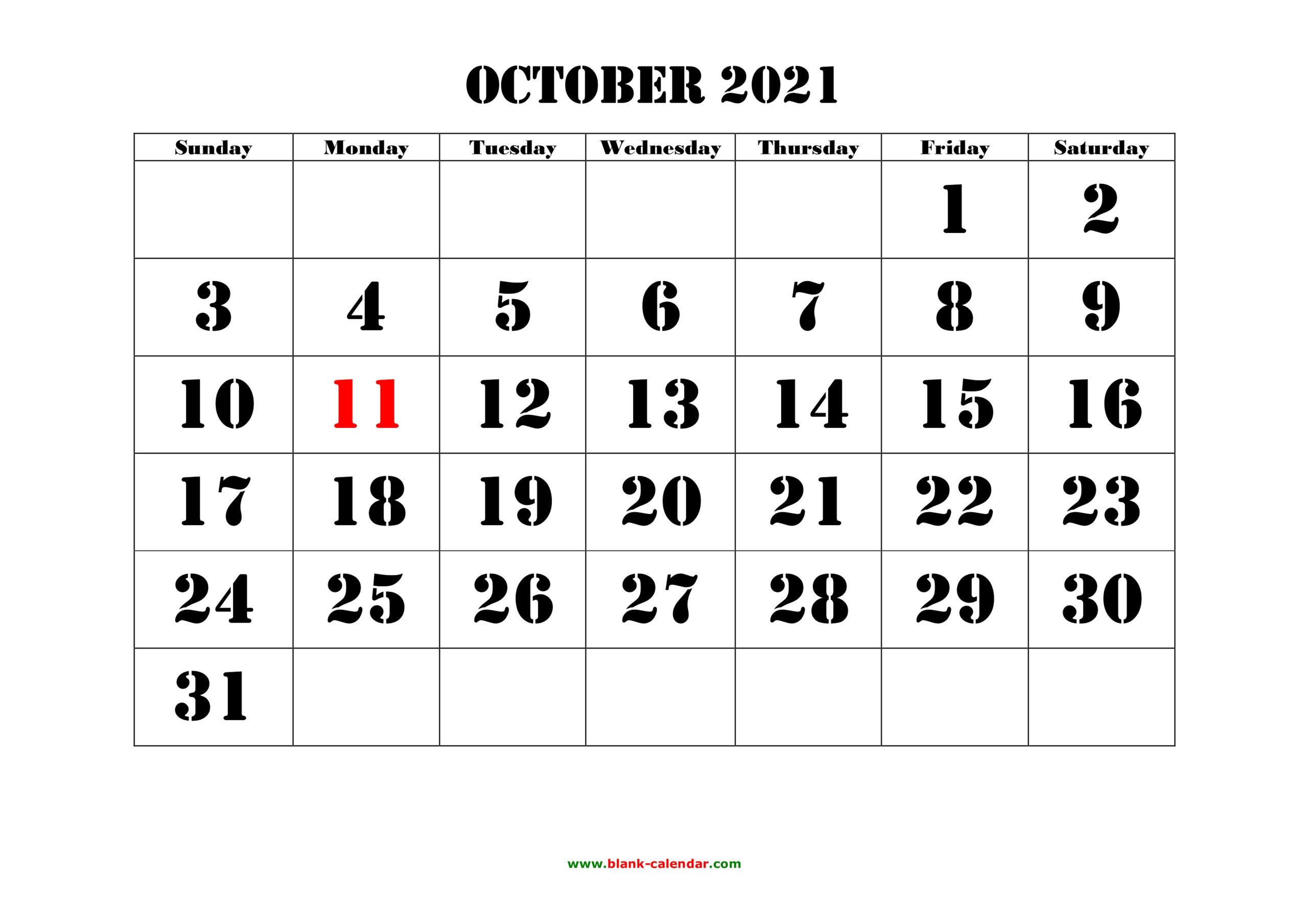 Free Download Printable October 2021 Calendar, Large Font pertaining to 2021 Large Bold Printable Calendar