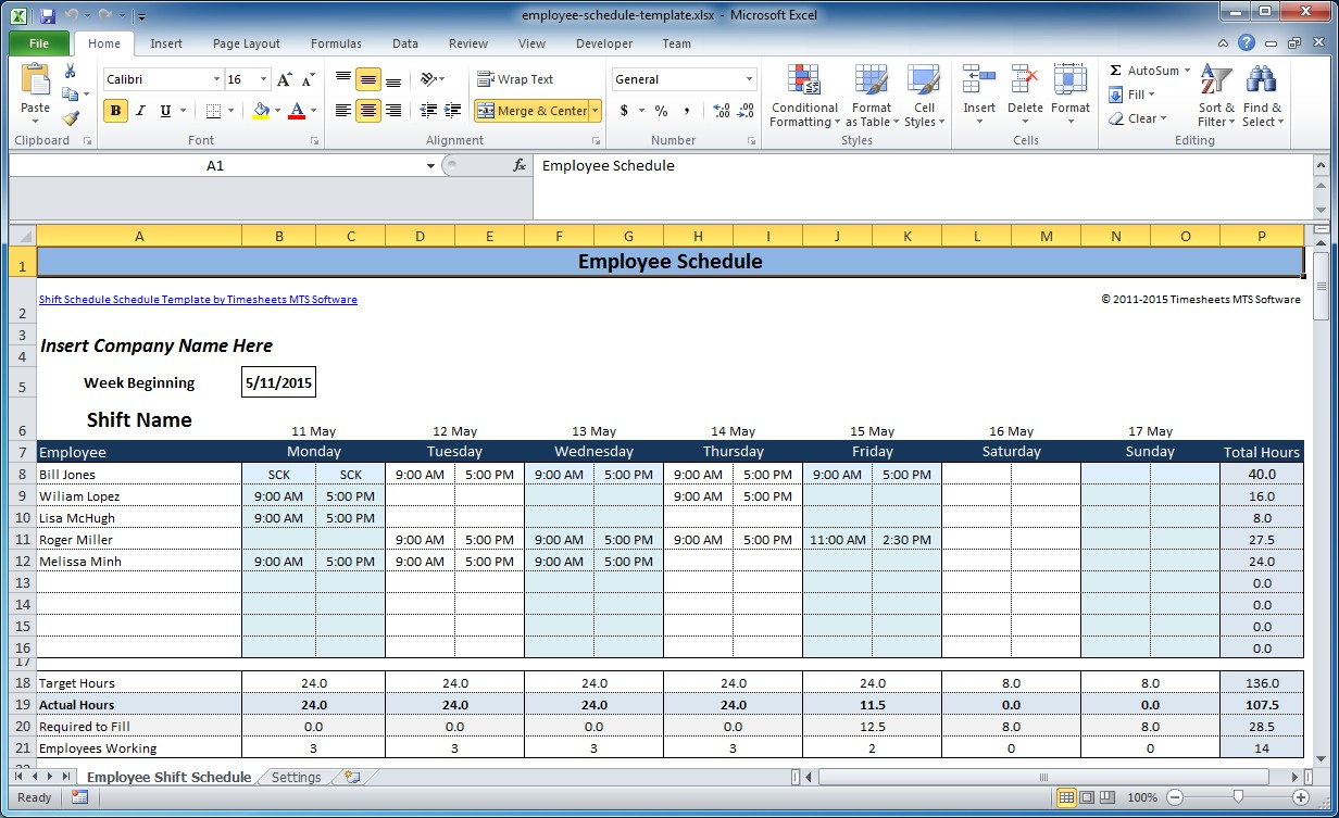 Free Employee And Shift Schedule Templates for Fre Shift Calenders