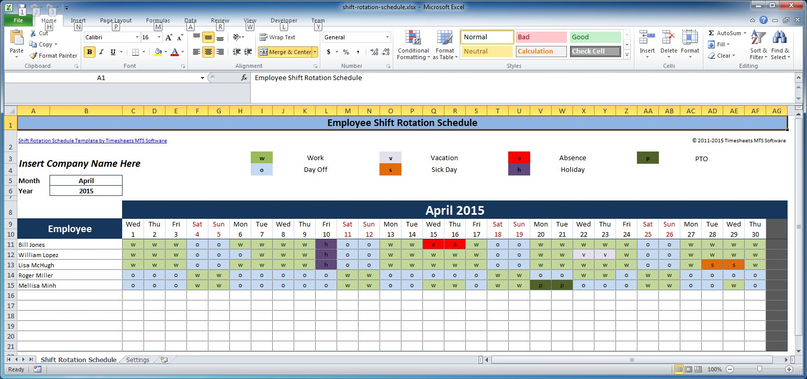 Free Employee And Shift Schedule Templates in Shift Yearly Plan