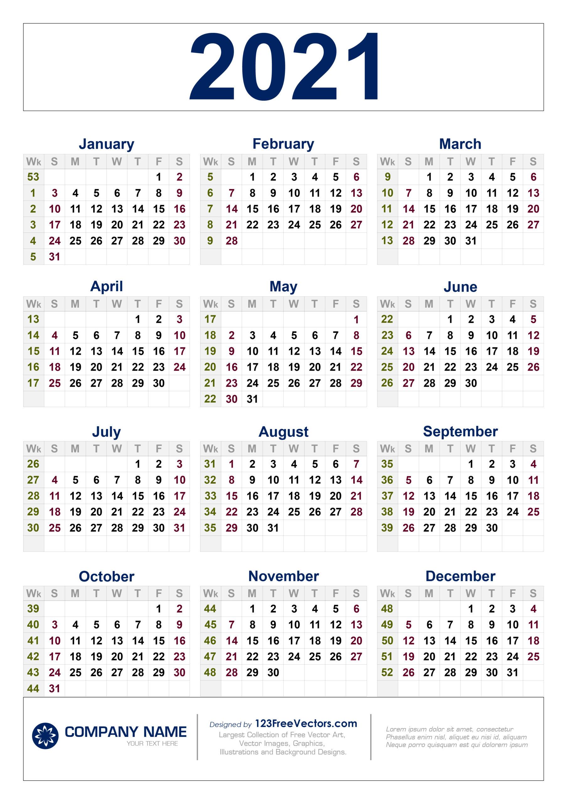 Free Free Download 2021 Calendar With Week Numbers for Weekly Planner For 2021- 52 Weeks