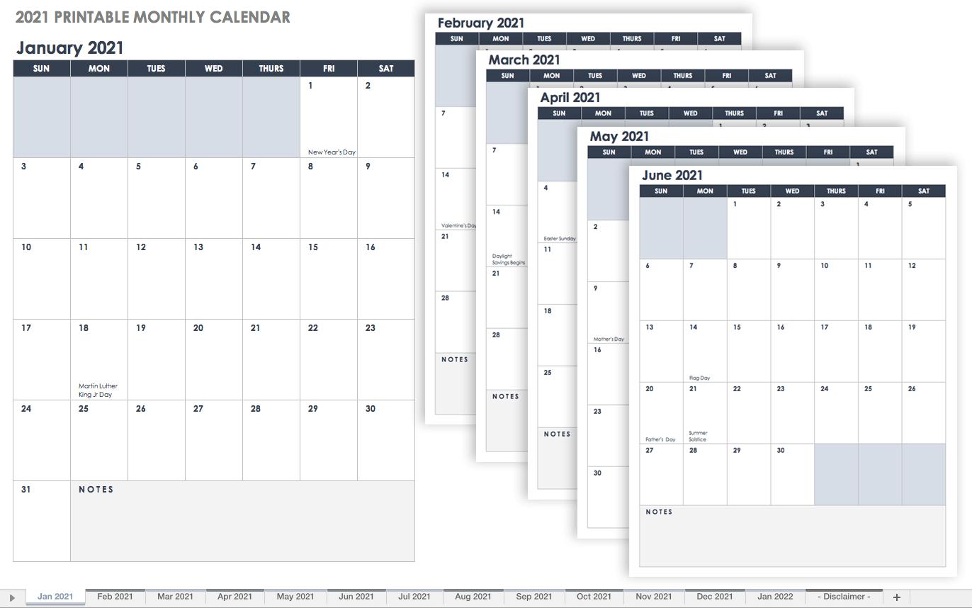 Free Google Calendar Templates | Smartsheet for Fill In Calendar 2021 Printable
