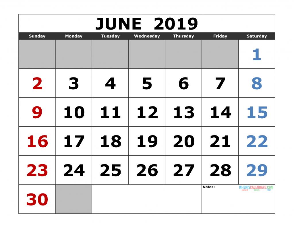 Free June 2019 Printable Calendar Templates [Us. Edition] pertaining to 2021 Large Bold Printable Calendar