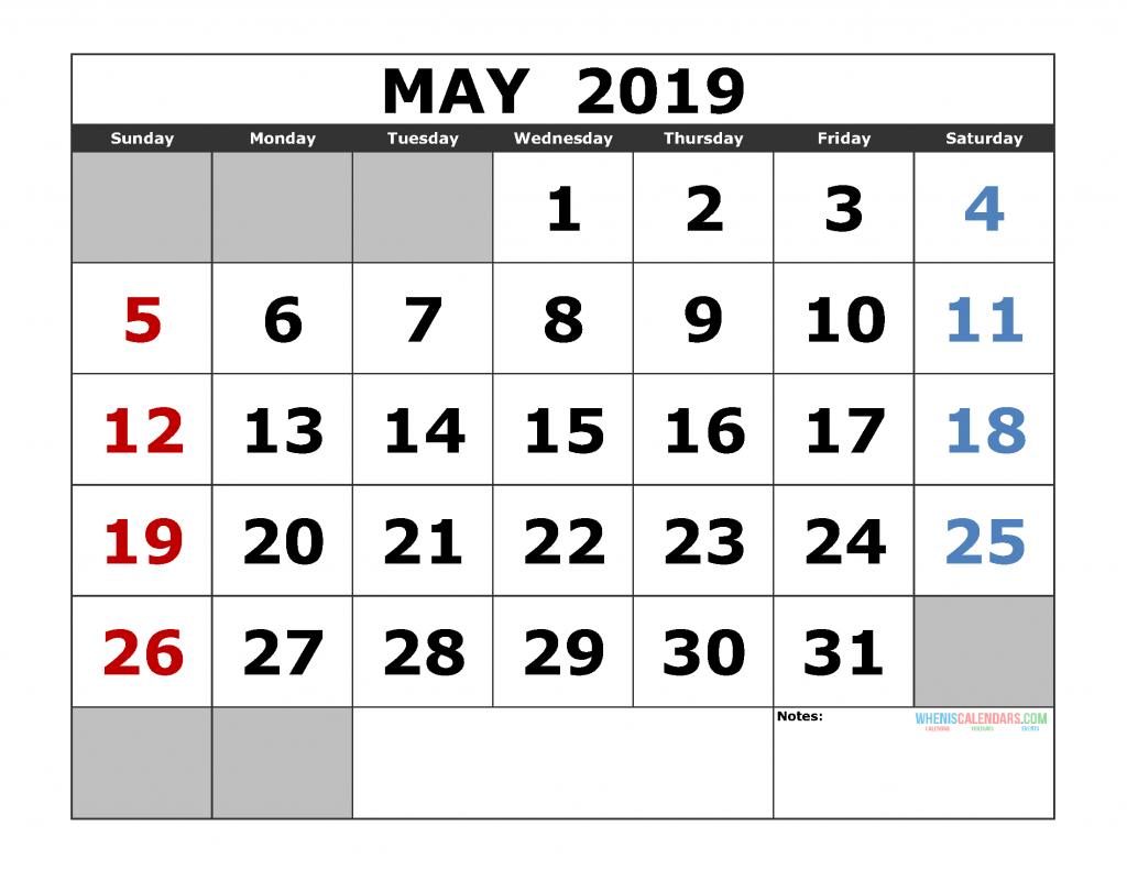Free May 2019 Printable Calendar Templates [Us. Edition for Large Bold Printable Calendar