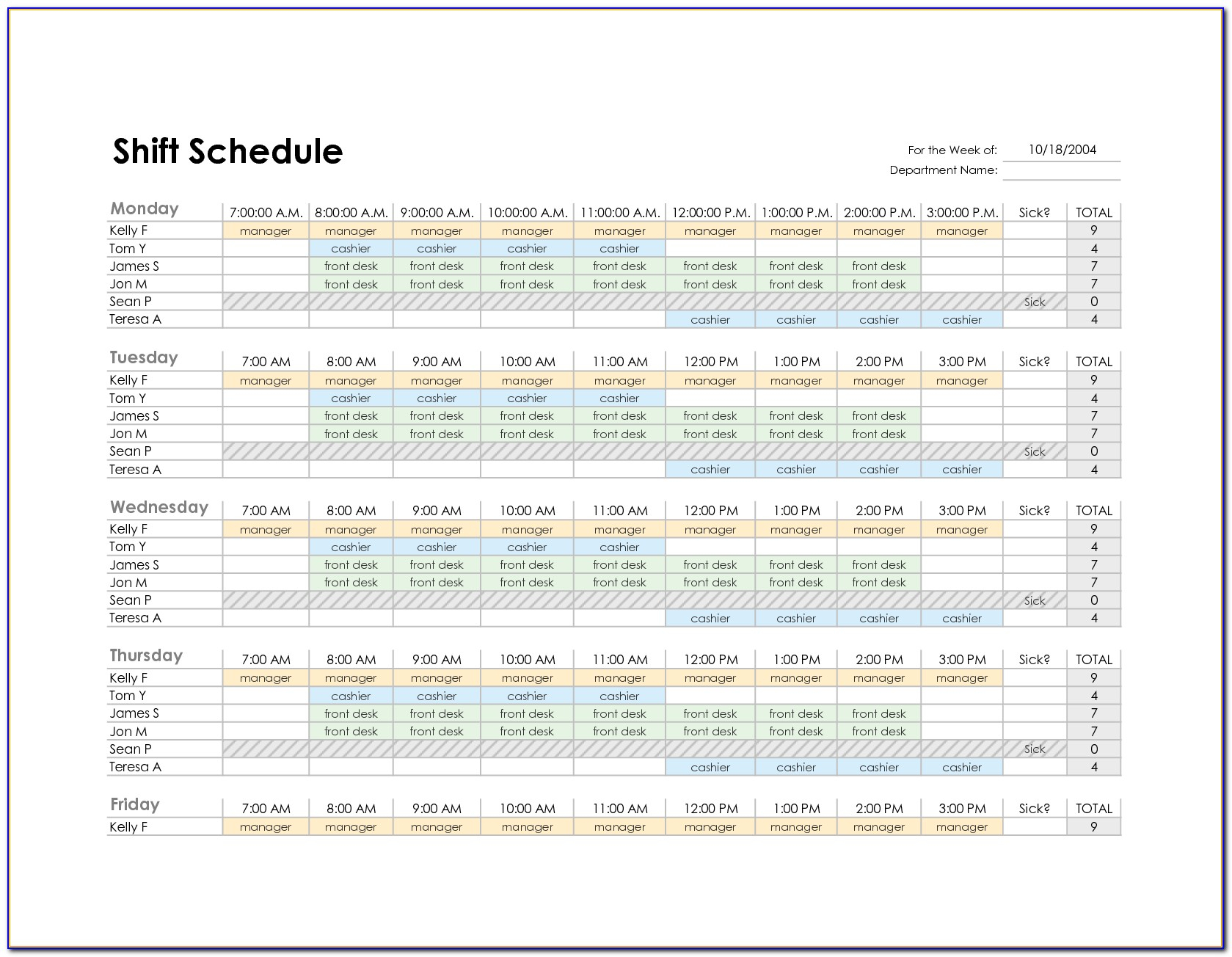 Free Monthly Employee Shift Schedule Template | Vincegray2014 with Free Shift Calendar Templates