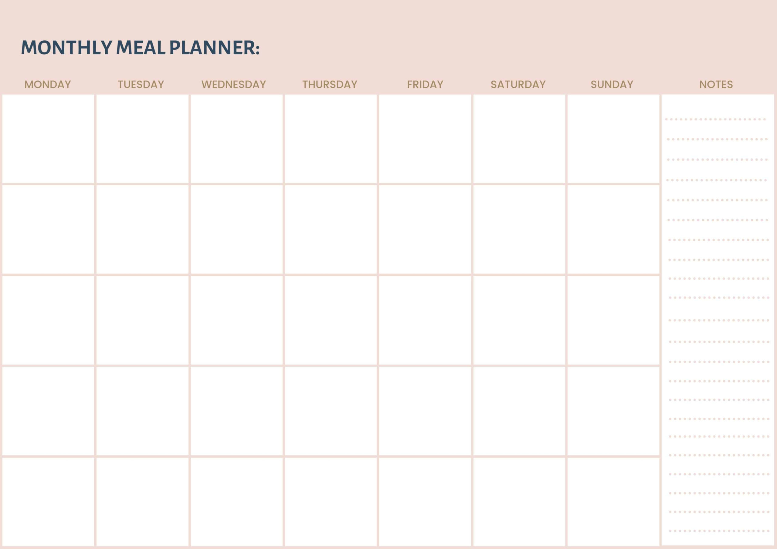 Free Monthly Meal Planner Printable   Thermomix Diva within Free Printable Monthly Menu Calendar