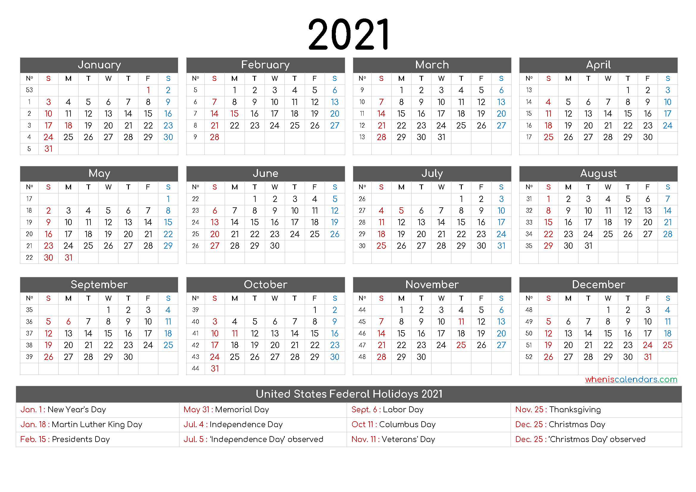 Free Printable 12 Month Calendar 2021 - 12 Templates pertaining to 2021 Monthly Planner 12 Month