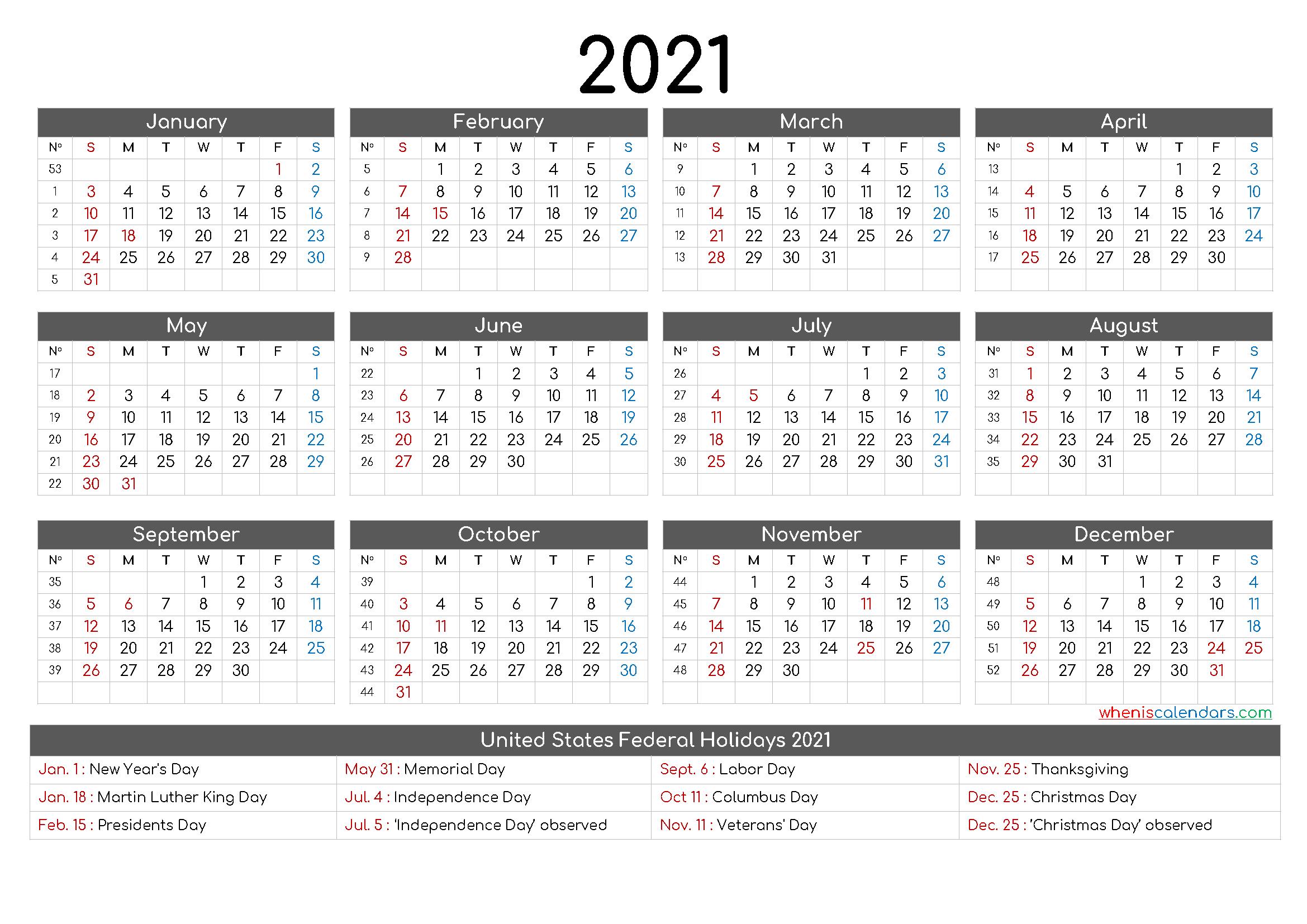 Free Printable 12 Month Calendar 2021 - 12 Templates with regard to Fill In Calendar 2021 Printable