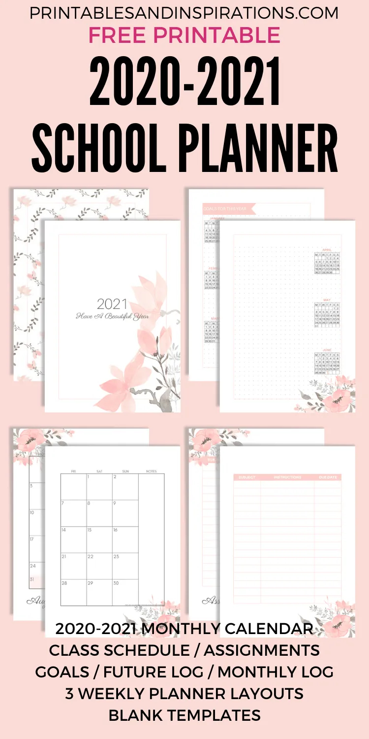 Free Printable 2020 - 2021 School Planner (Updated throughout 2021 Planner: Weekly Calendar Planner