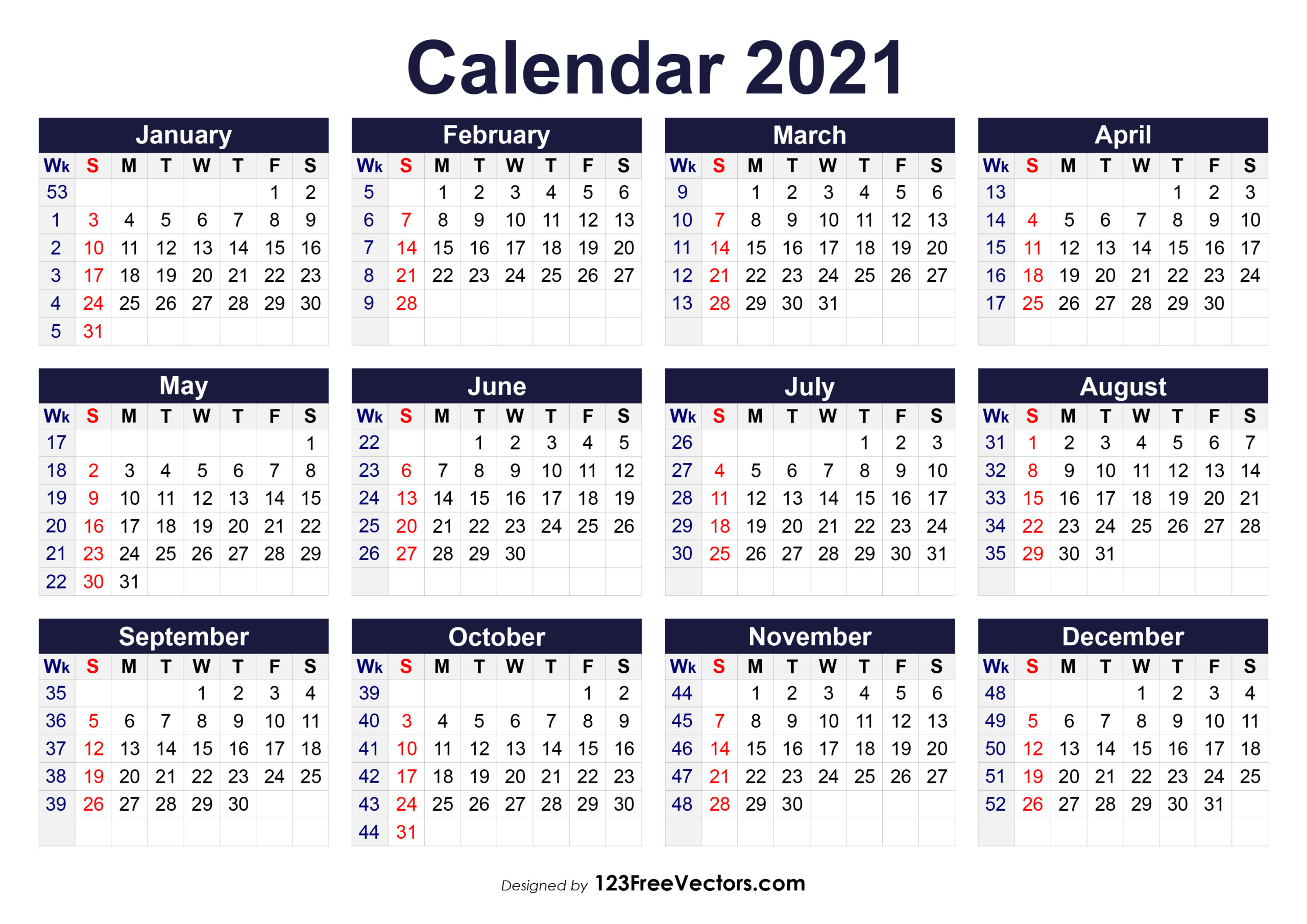 Free Printable 2021 Calendar With Week Numbers within Monthly Calendar By Week Number 2021