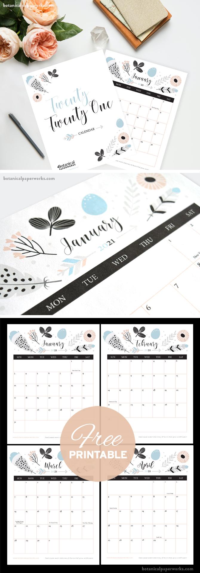 Free Printable 2021 Calendars | Botanical Paperworks pertaining to 2021 I-9 Form Printable