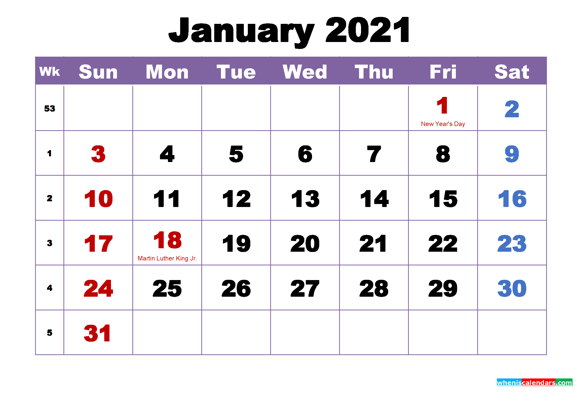Free Printable 2021 Monthly Calendar With Holidays January for Monthly Fill In Printable Calendar 2021