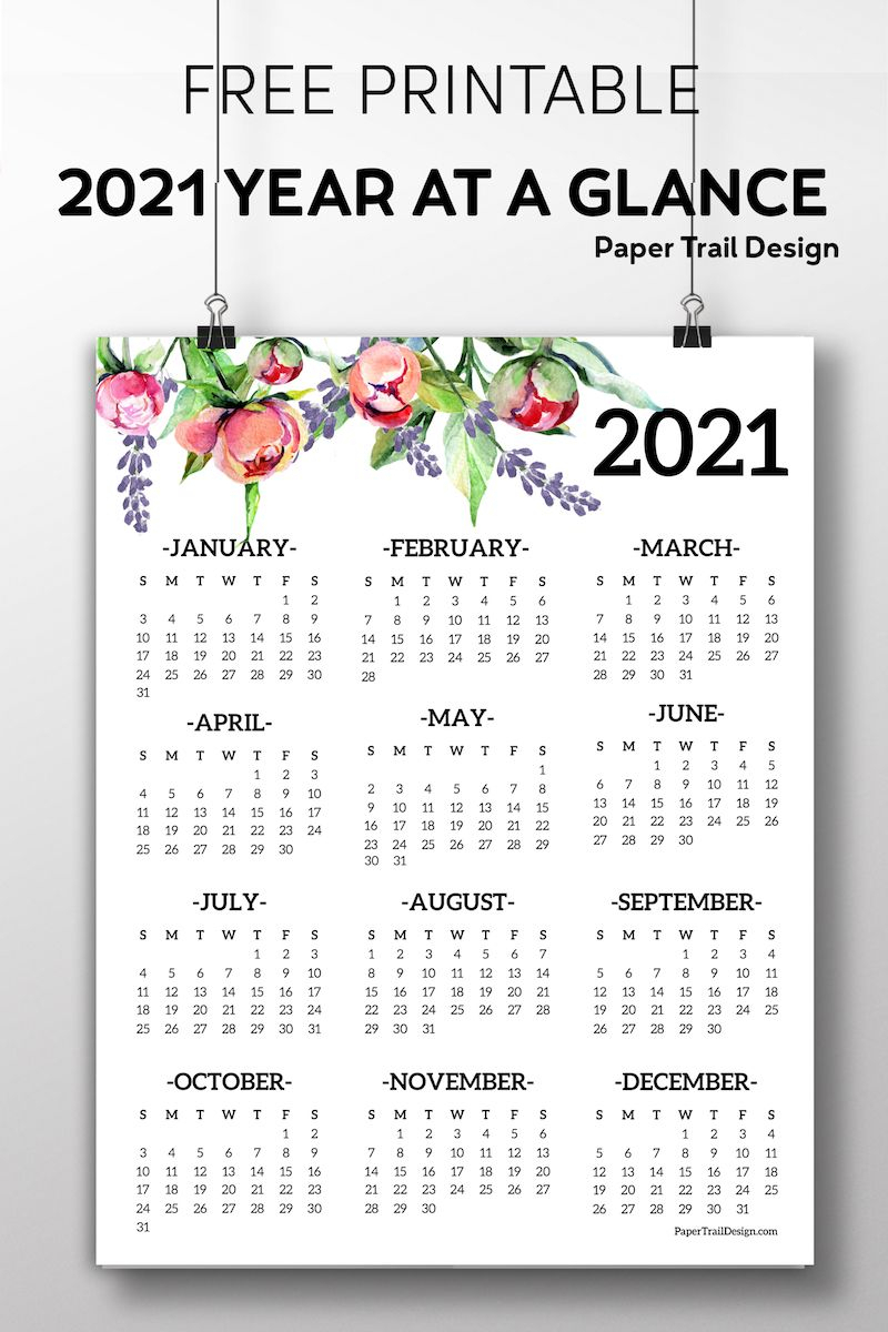Free Printable 2021 One Page Floral Calendar | Paper Trail with 2021-2021 2 Year Pocket Planner: 2 Year